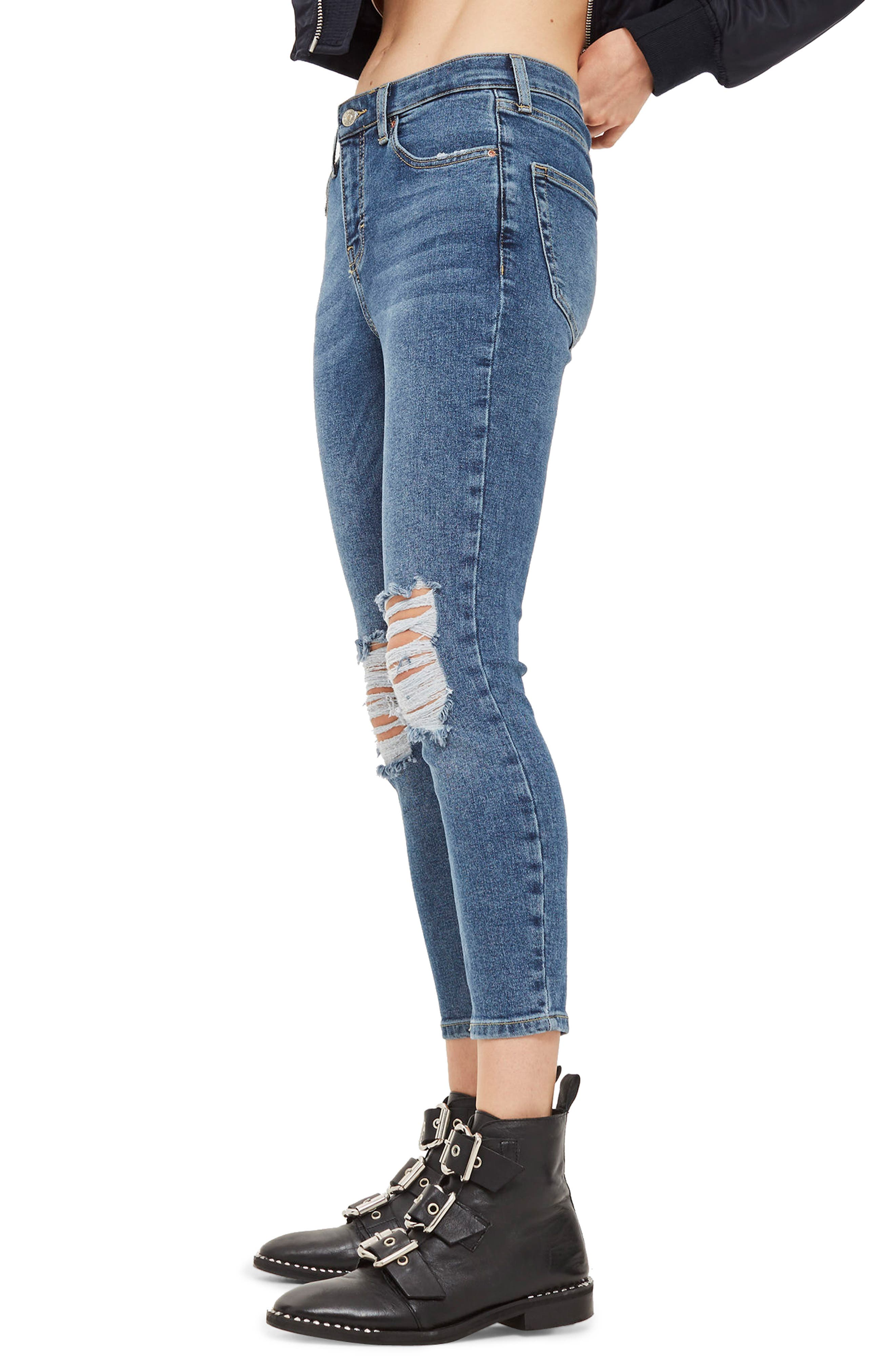 Jamie Petite Ripped Jeans,                             Alternate thumbnail 3, color,                             MID DENIM