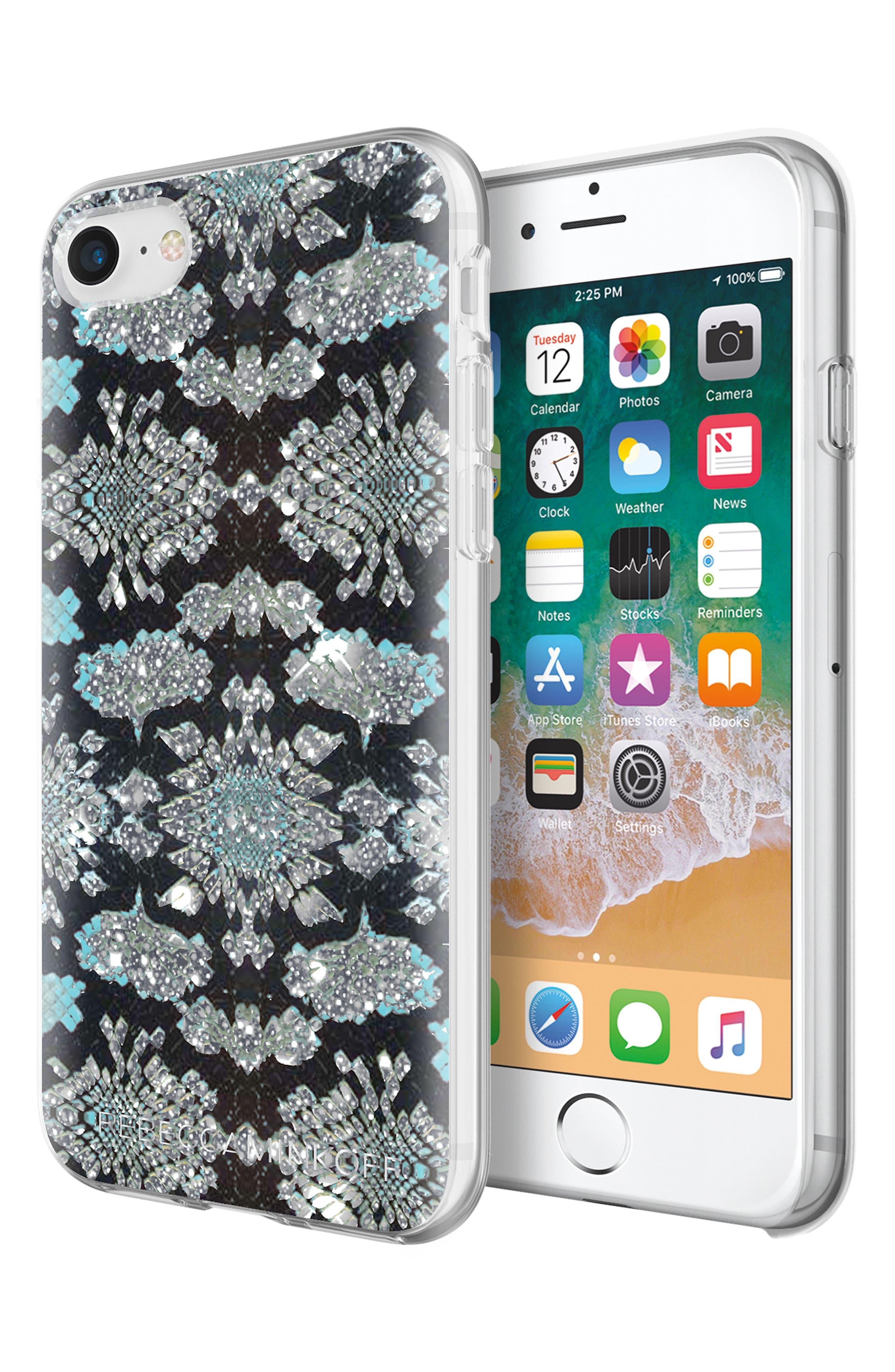 Glitter Snakeskin Print iPhone 7/8 & 7/8 Plus Case,                             Alternate thumbnail 4, color,