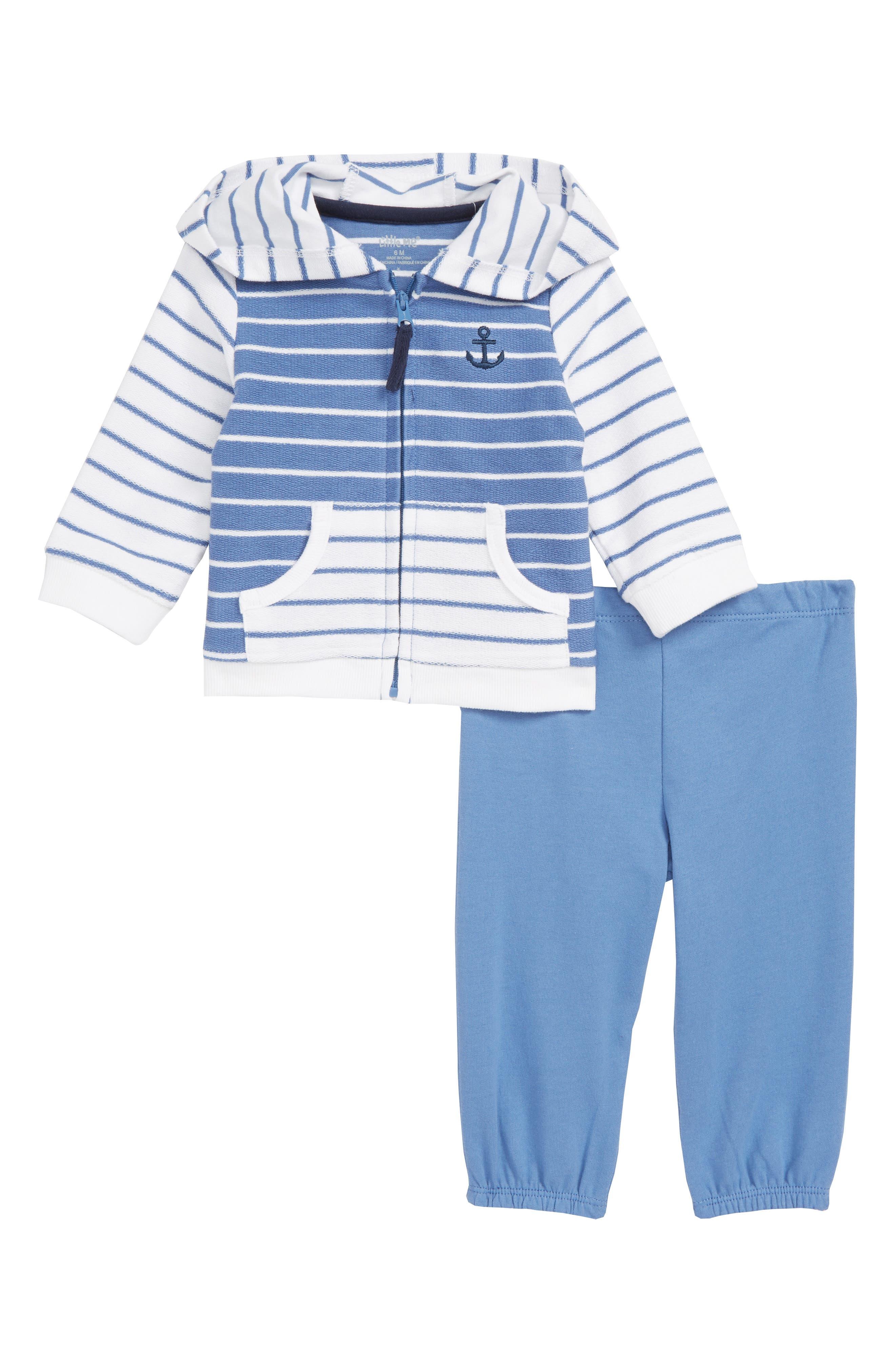 LITTLE ME,                             Stripe Jacket & Pants Set,                             Main thumbnail 1, color,                             BLUE