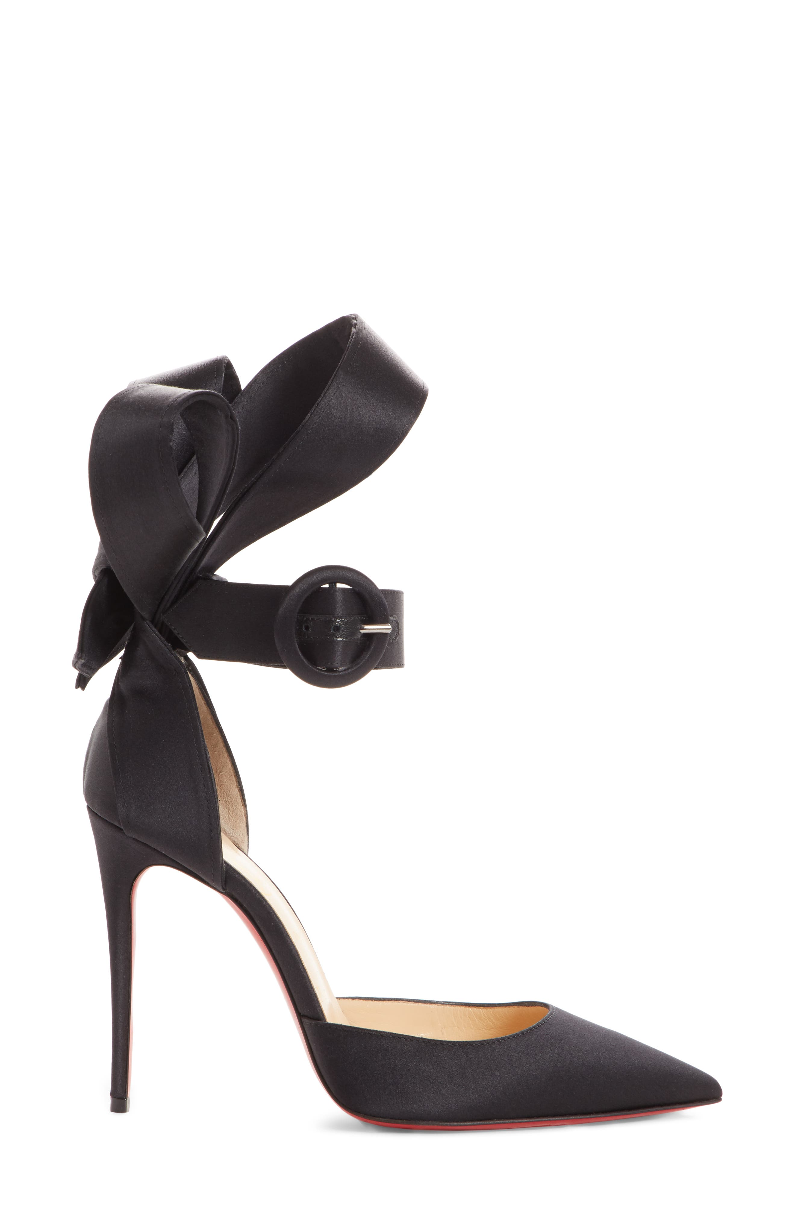 Raissa Bow Ankle Strap Pump,                             Alternate thumbnail 3, color,                             BLACK