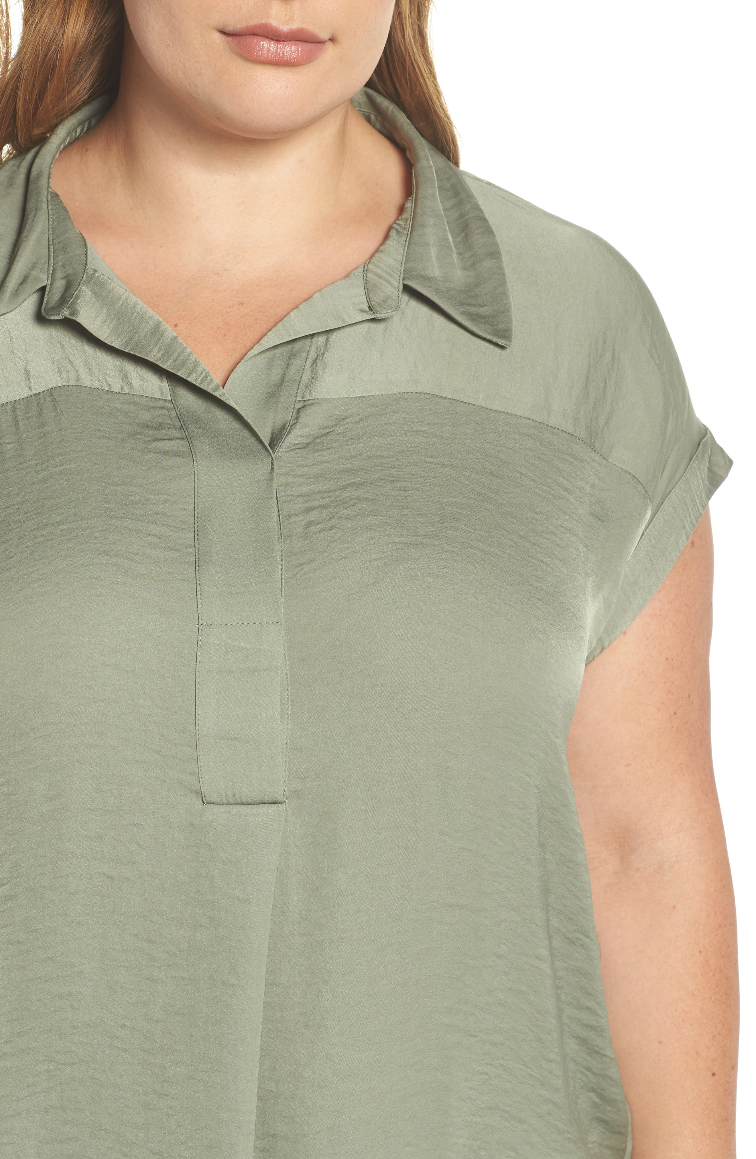 Collared Henley High/Low Top,                             Alternate thumbnail 4, color,                             CAMO GREEN