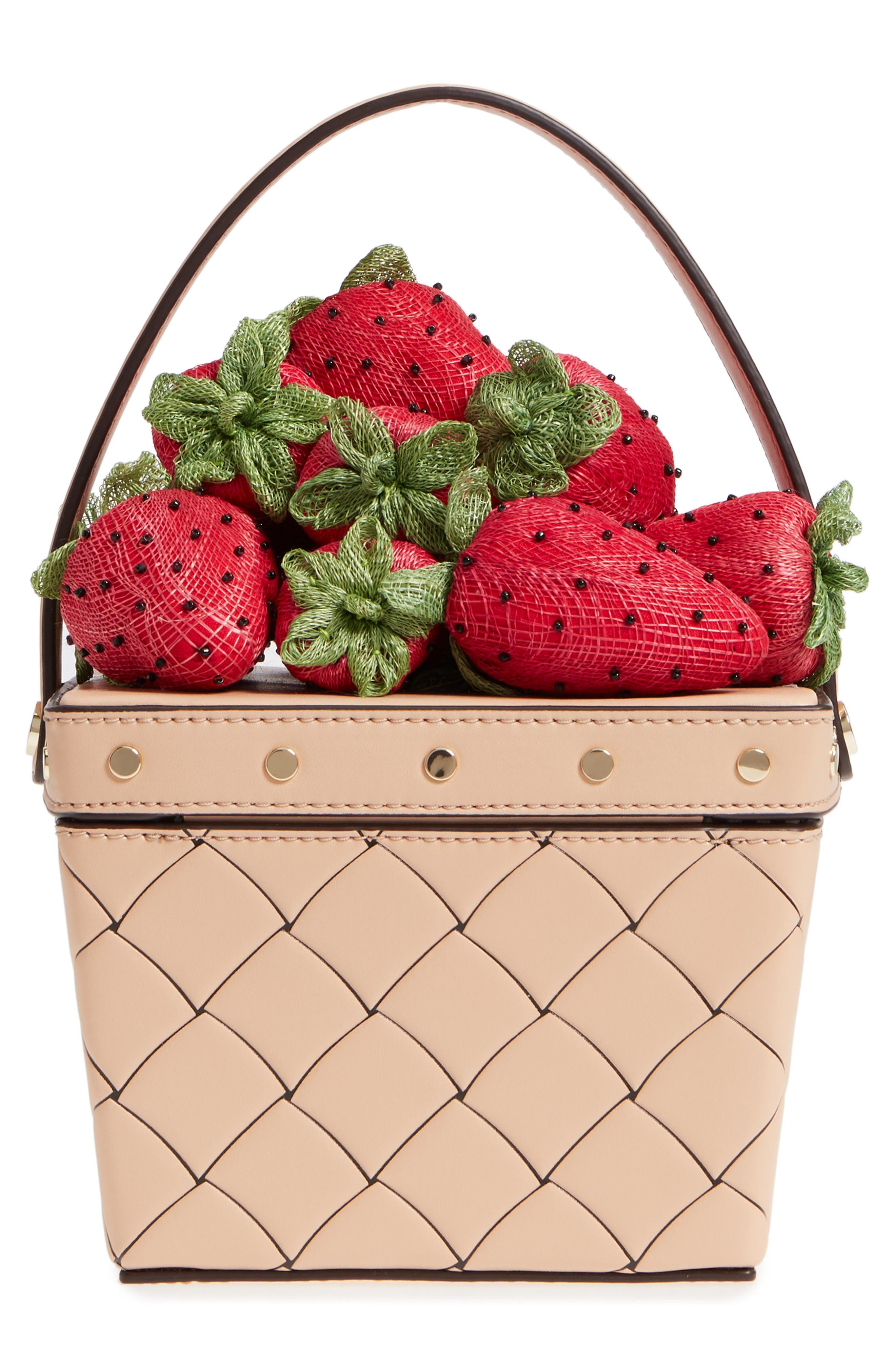 picnic perfect strawberry woven leather basket bag,                             Alternate thumbnail 3, color,                             600
