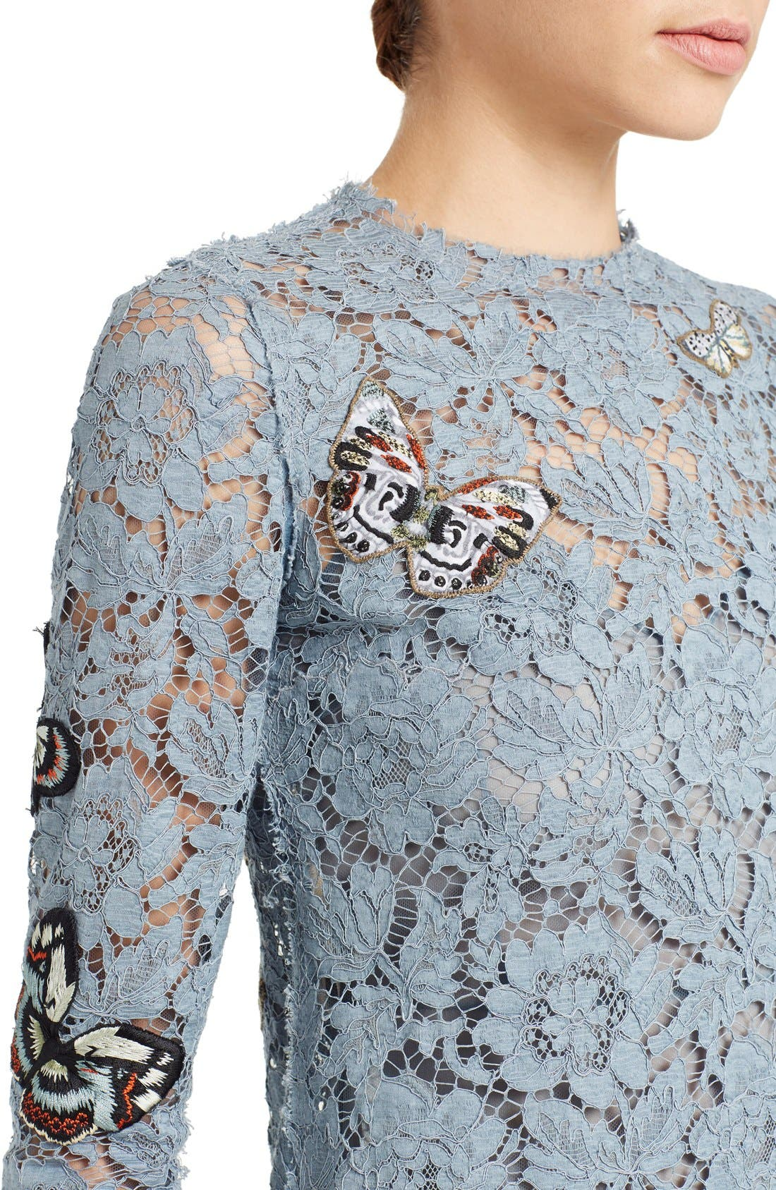 Butterfly Embroidered Lace Dress,                             Alternate thumbnail 4, color,                             SLATE BLUE