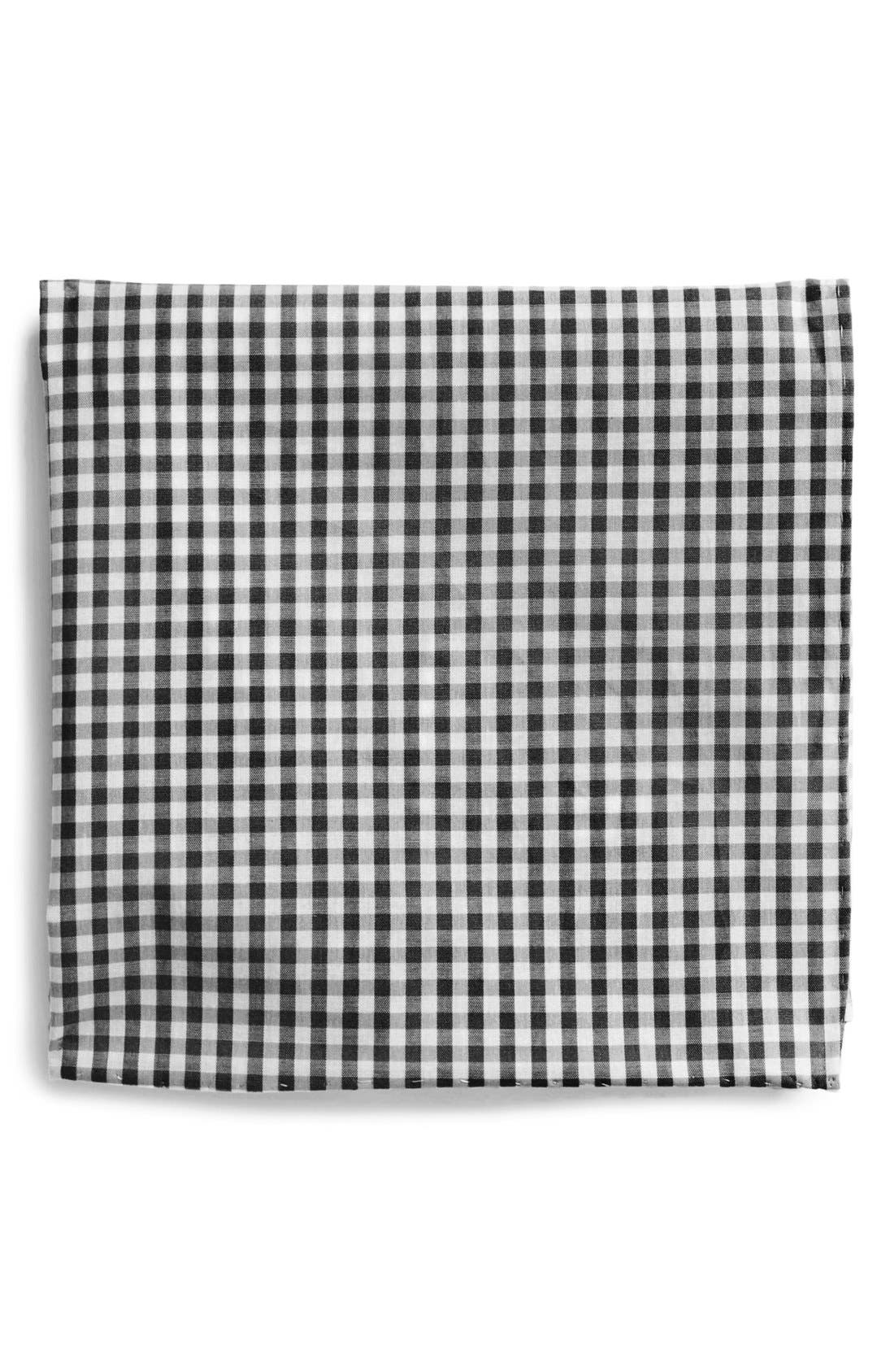 Cotton Gingham Pocket Square,                             Main thumbnail 1, color,
