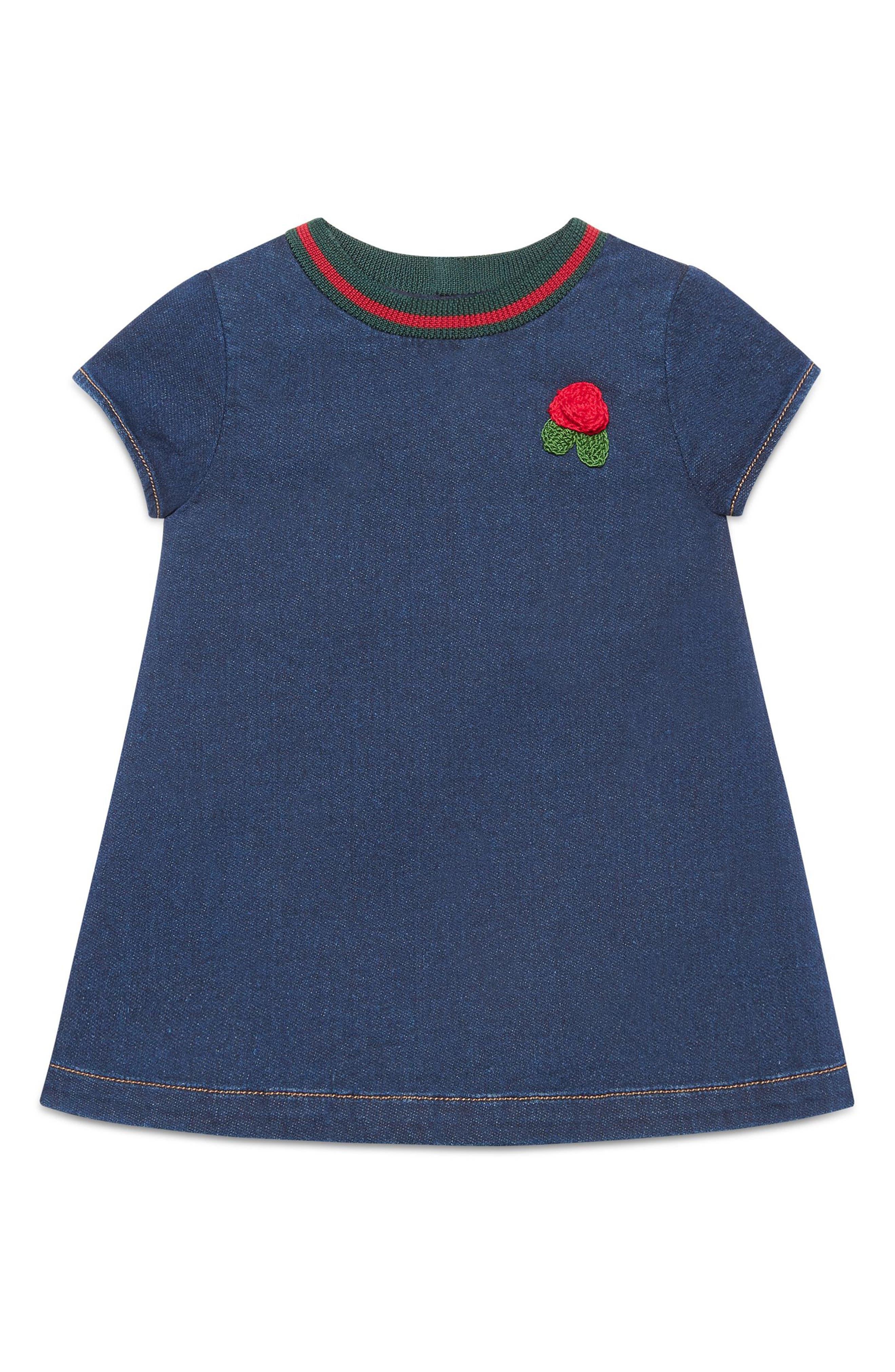 Knit Collar Denim Dress,                             Alternate thumbnail 4, color,