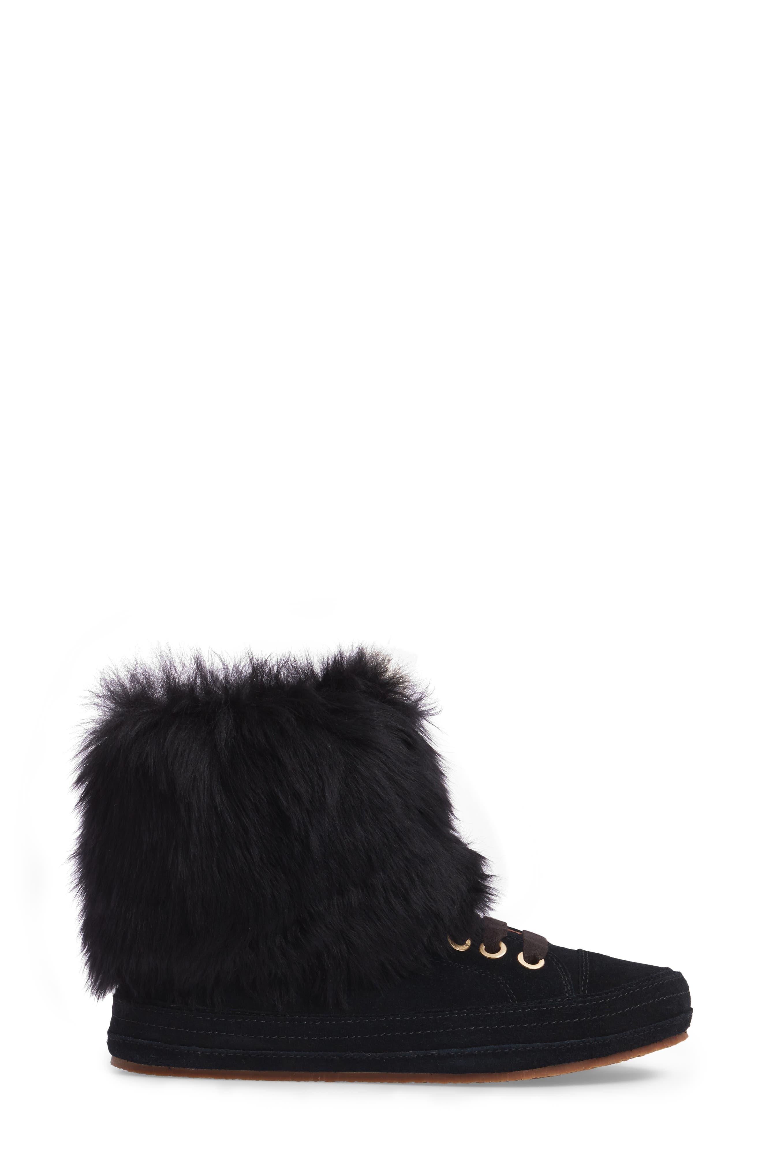 Antoine Fur Cuff Sneaker,                             Alternate thumbnail 3, color,                             001