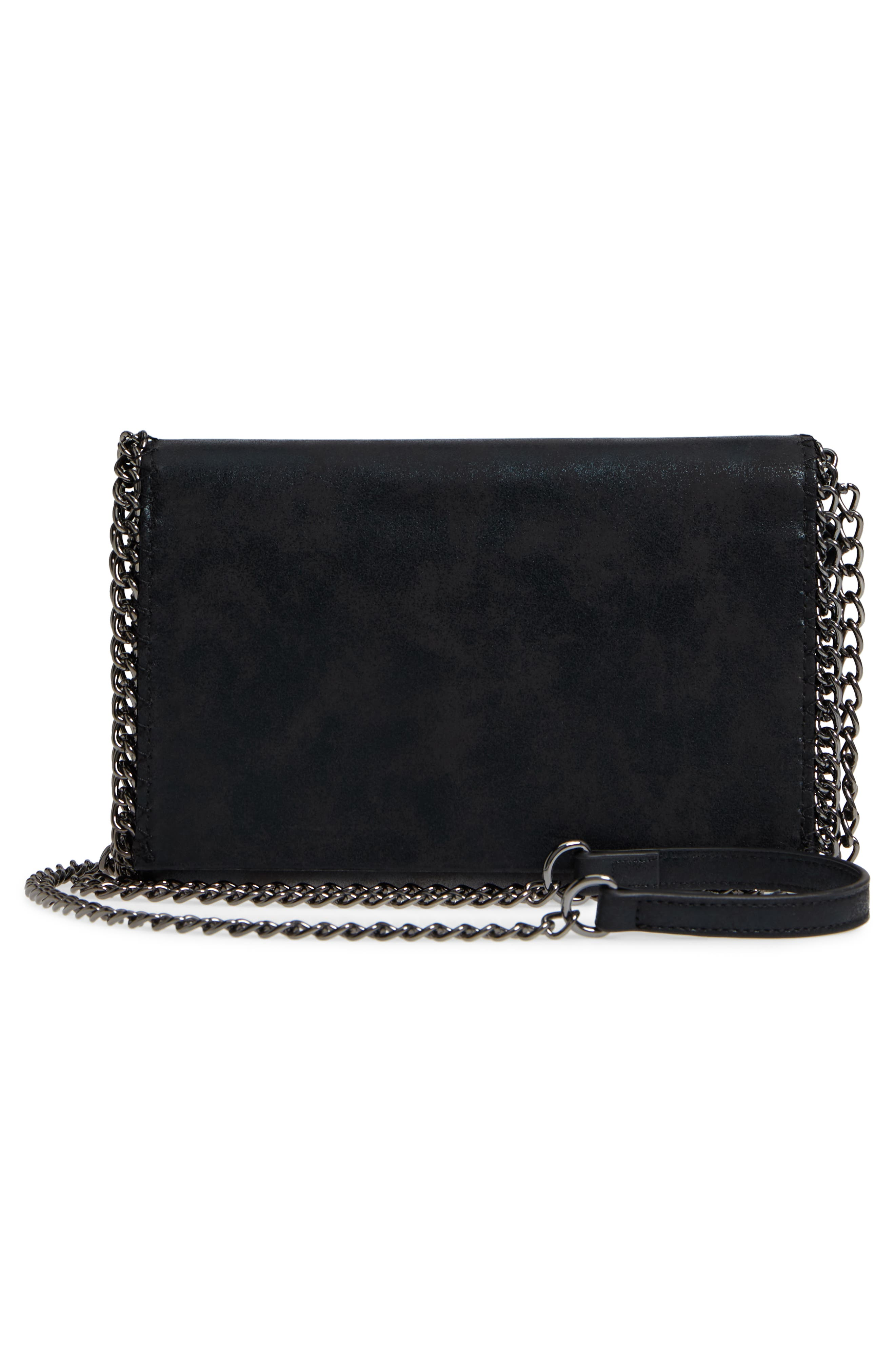 Faux Leather Wallet on a Chain,                             Alternate thumbnail 3, color,                             BLACK