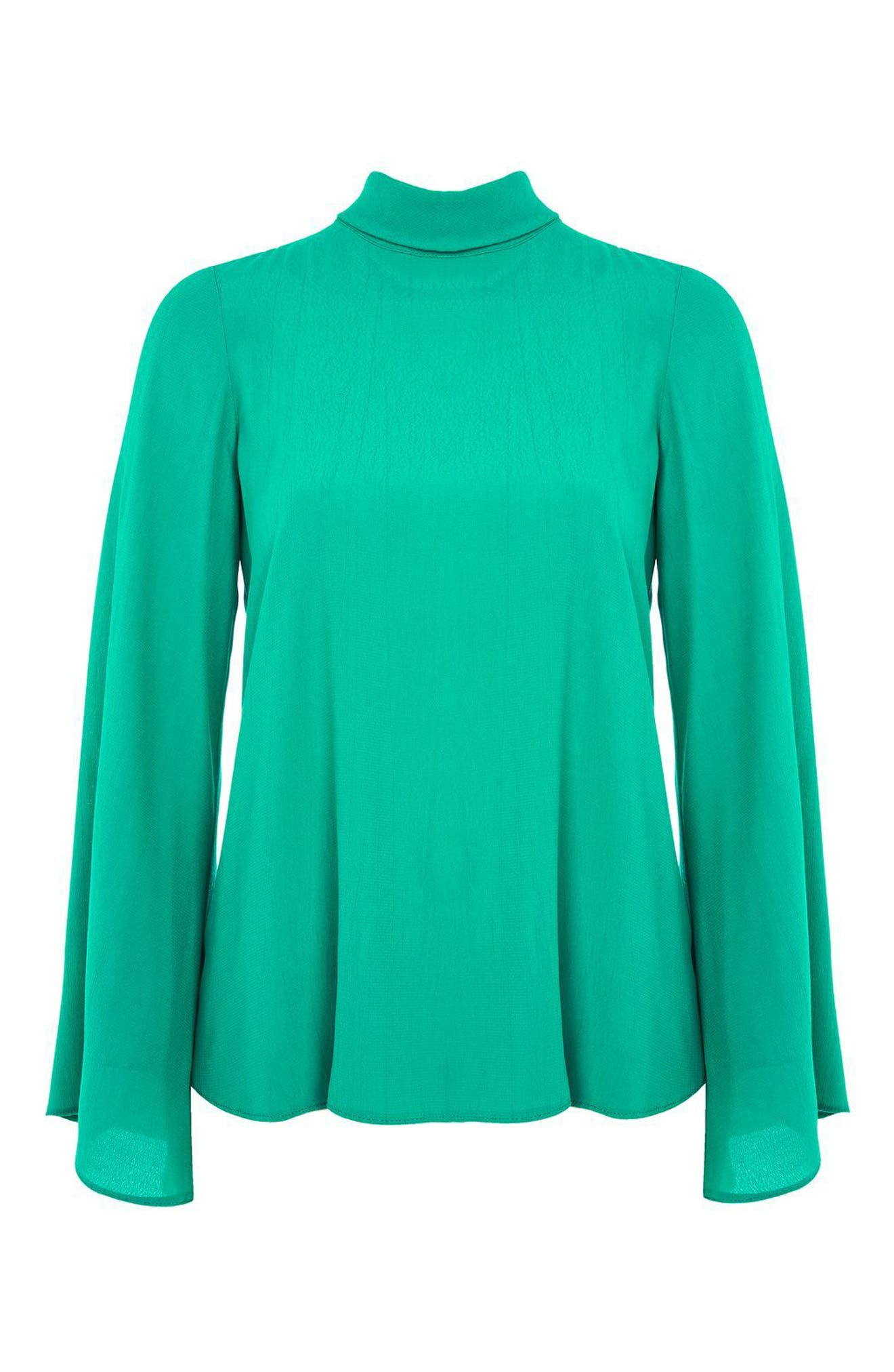 Tie Back Roll Neck Top,                             Alternate thumbnail 3, color,                             320