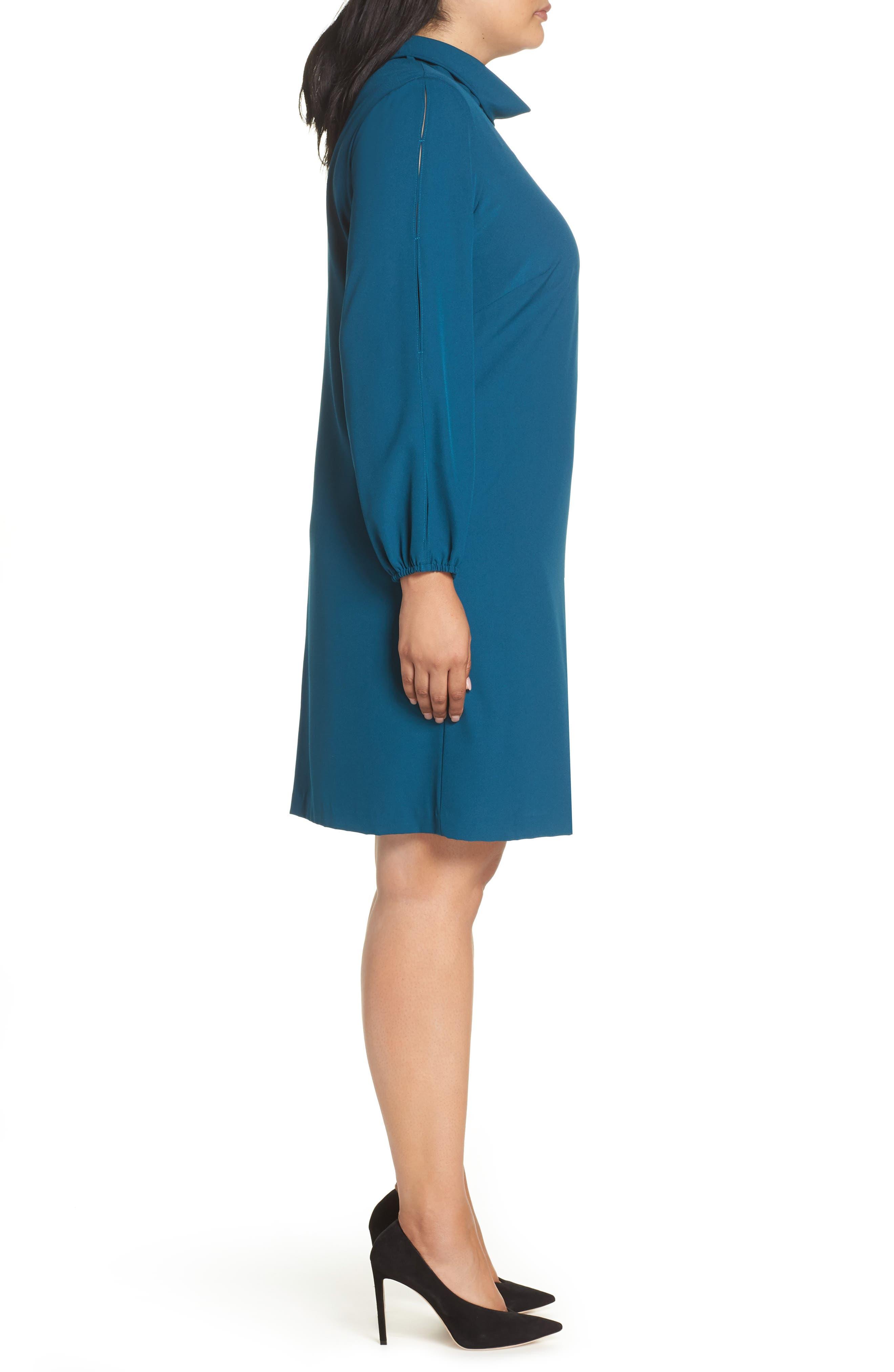Long Split Sleeve Crepe Sheath Dress,                             Alternate thumbnail 3, color,                             OCEAN TEAL