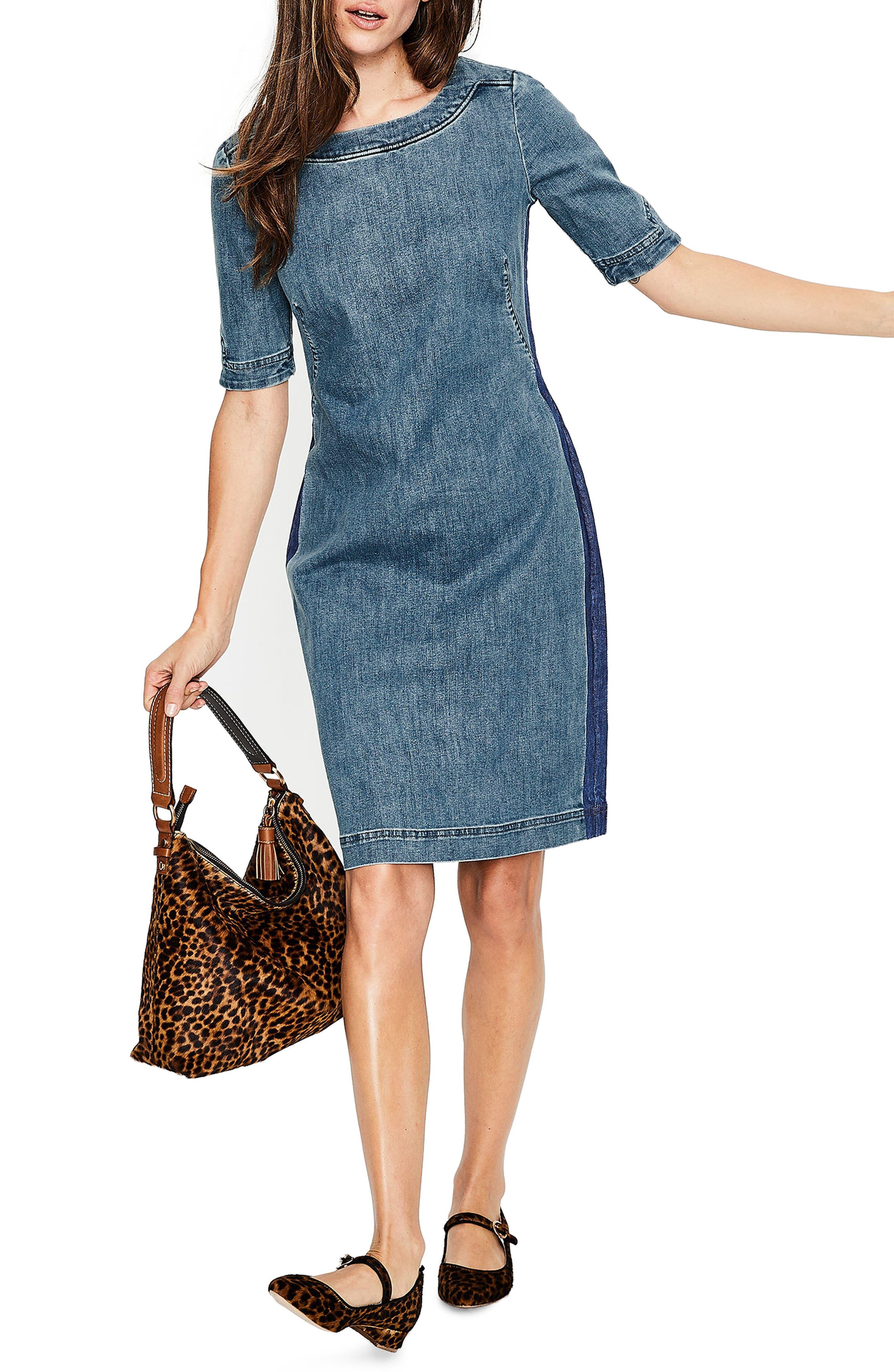 Rhea Denim Contrast Dress,                             Main thumbnail 1, color,                             MID VINTAGE WITH SIDE STRIPE