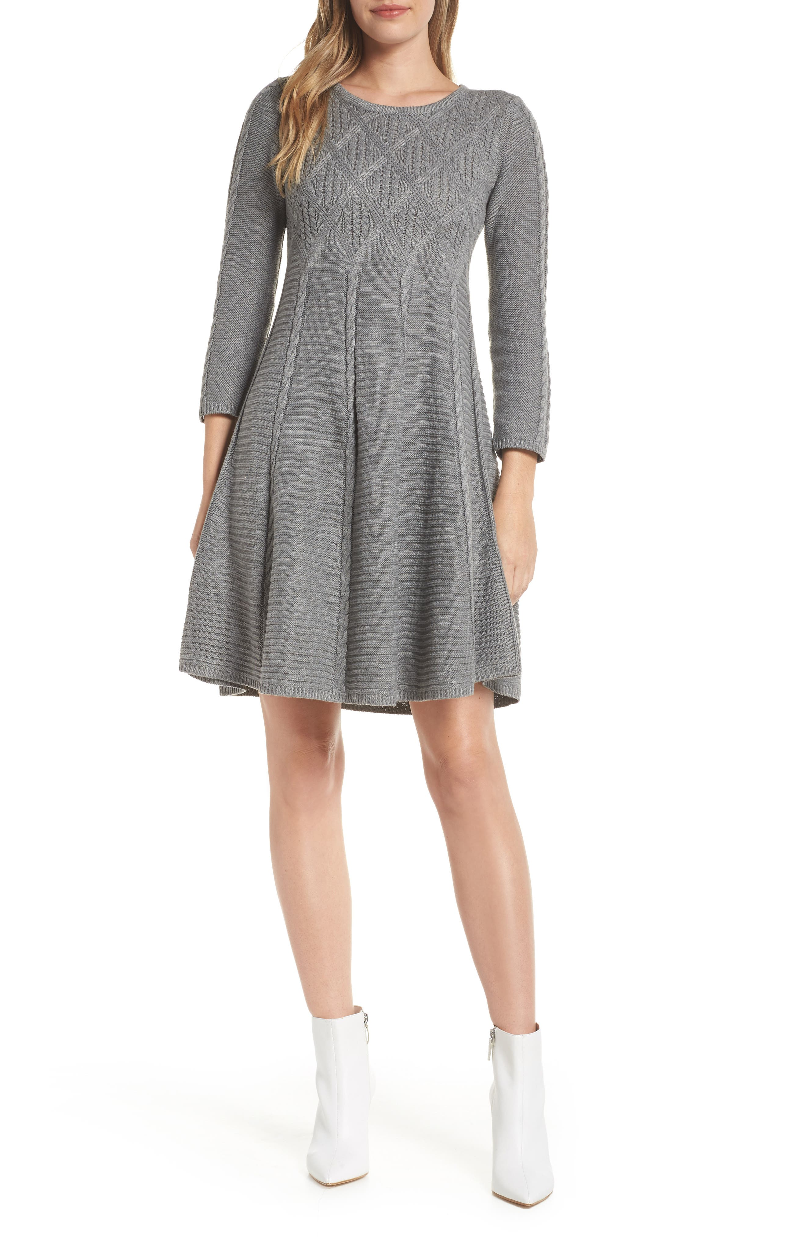 Eliza J Cable Fit & Flare Sweater Dress, Grey