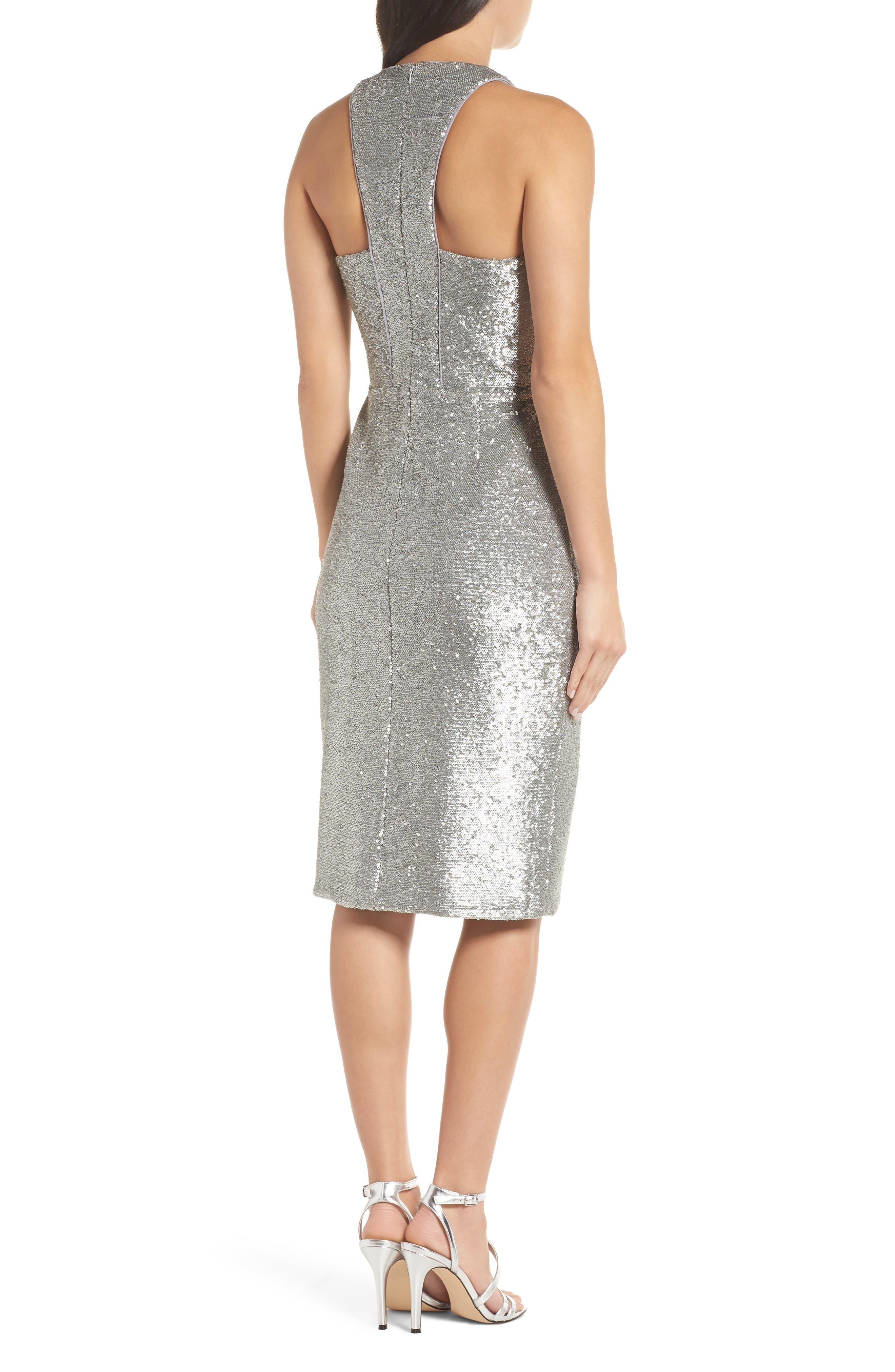 Plunge Neck Sequin Dress,                             Alternate thumbnail 2, color,                             MATTE SILVER