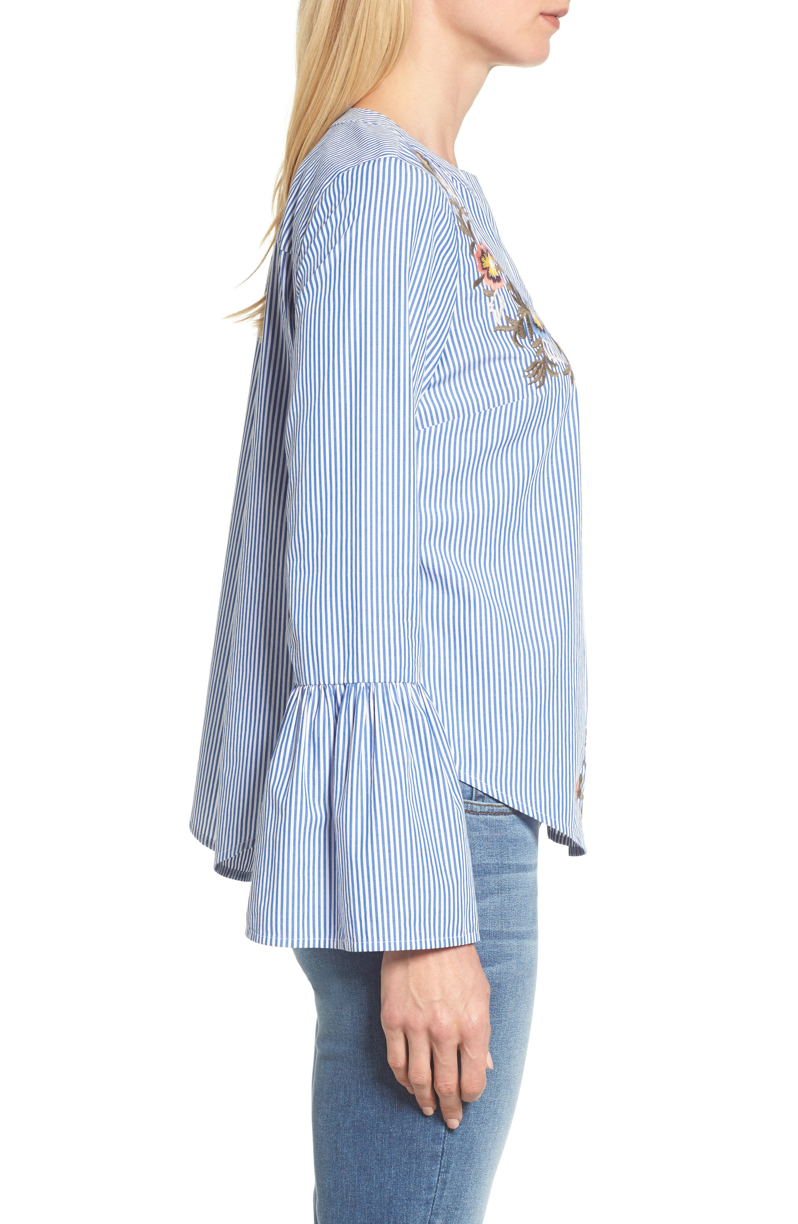 Embroidered Bell Sleeve Top,                             Alternate thumbnail 6, color,