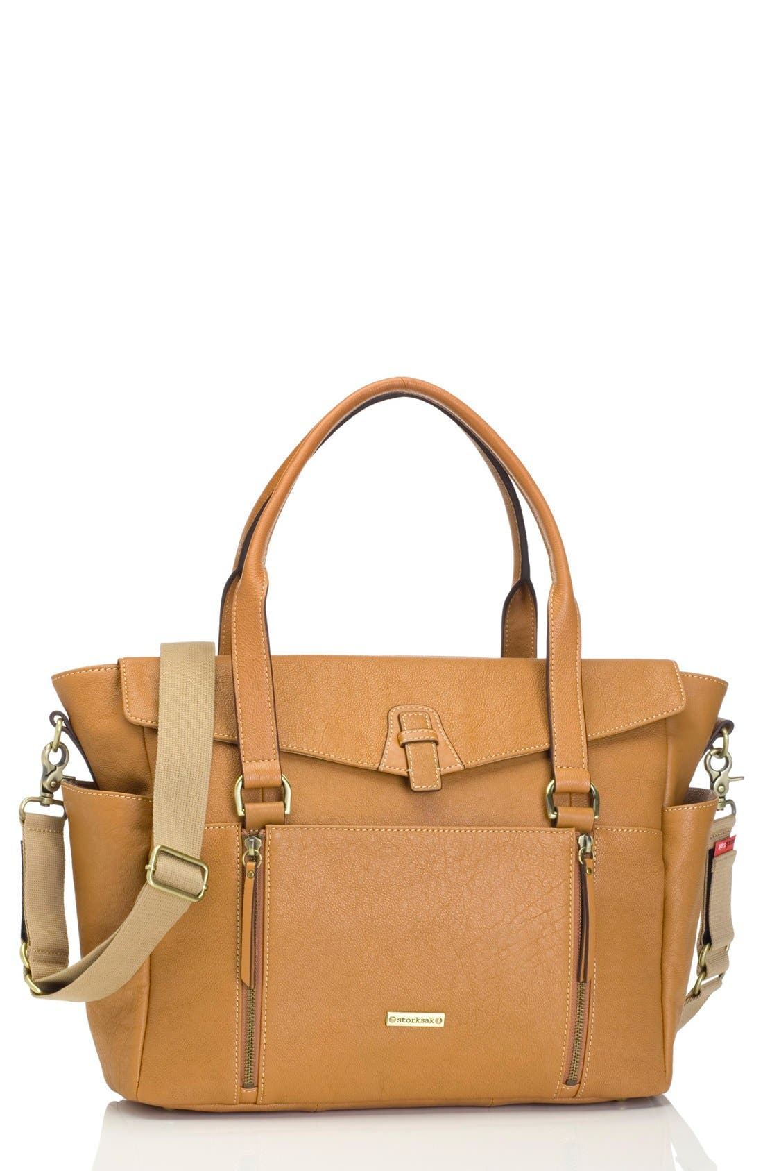 STORKSAK 'Emma' Leather Diaper Bag, Main, color, TAN