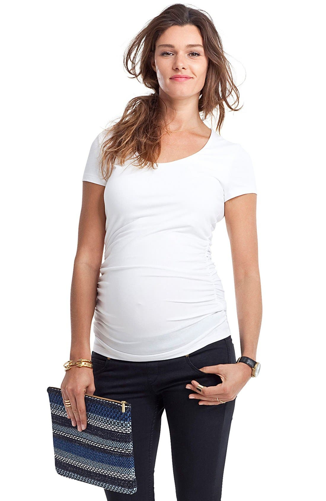 Scoop Neck Maternity Tee,                             Alternate thumbnail 3, color,                             PURE WHITE