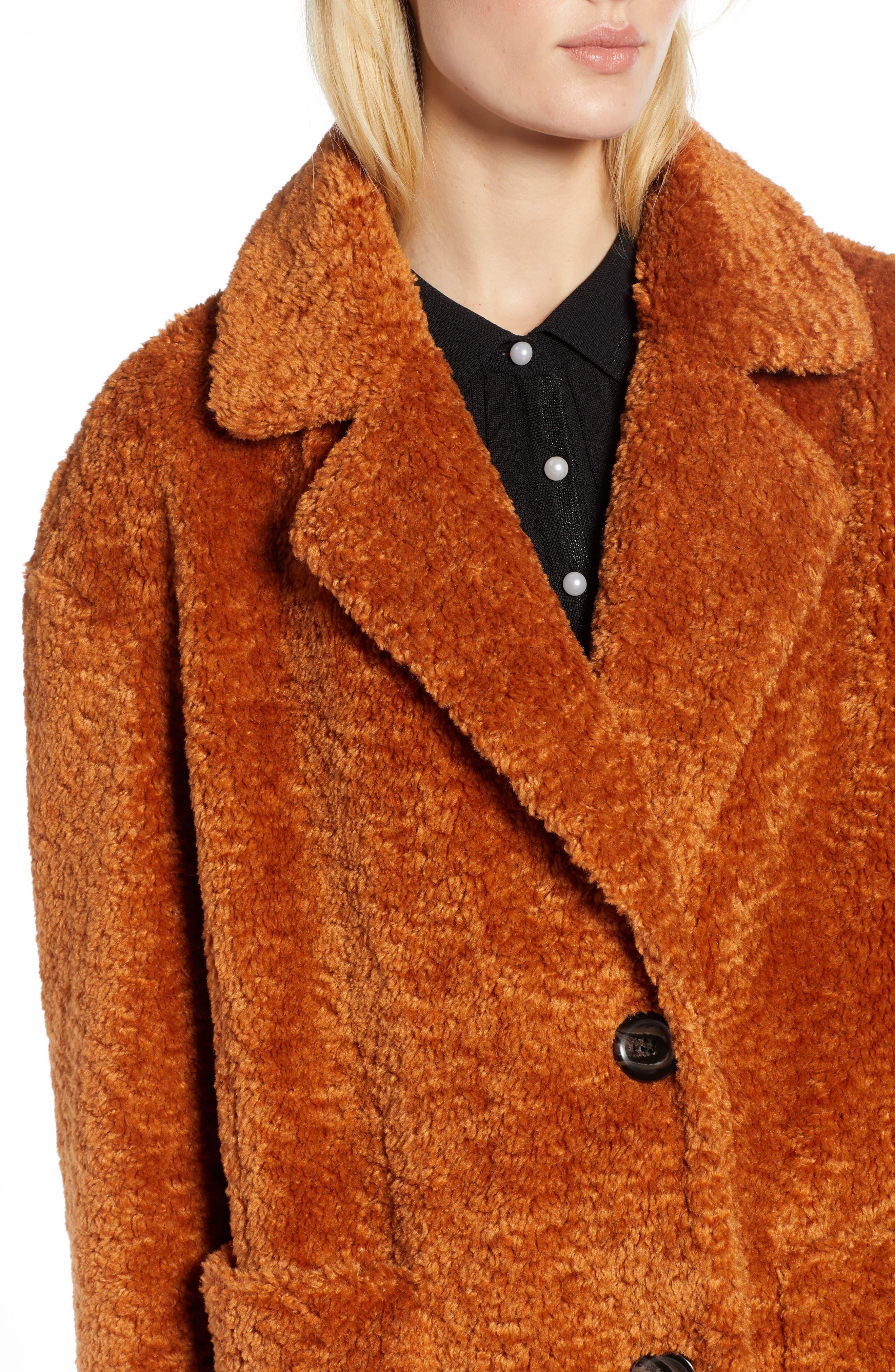 x Atlantic-Pacific Faux Fur Coat,                             Alternate thumbnail 4, color,                             RUST GINGER
