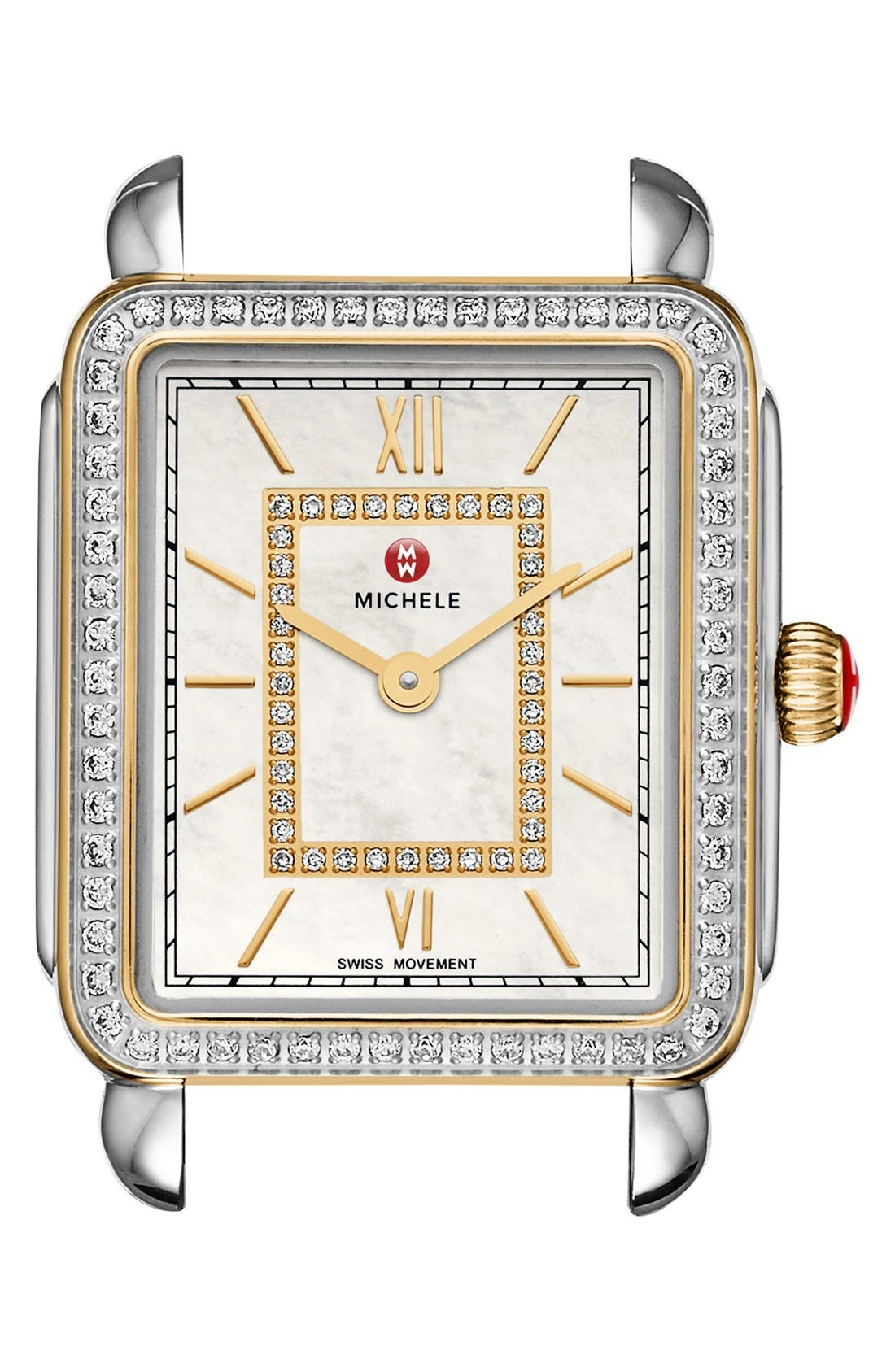 Deco II Mid Diamond Dial Watch Case, 26mm x 28mm,                             Main thumbnail 1, color,                             SILVER/ GOLD