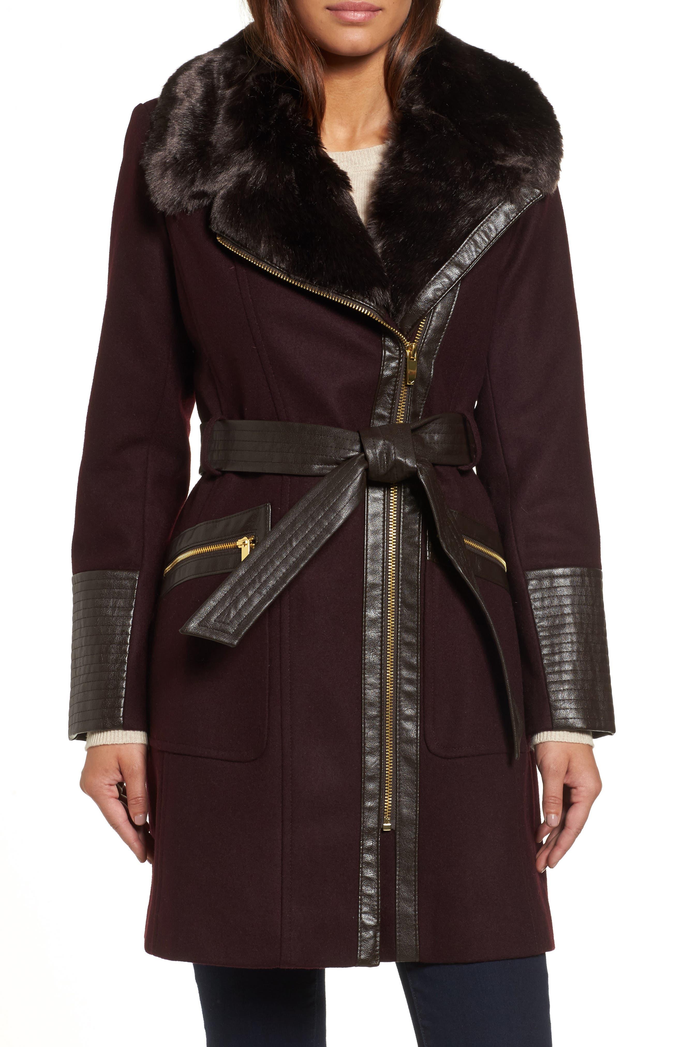 Faux Leather & Faux Fur Trim Belted Wool Blend Coat,                             Main thumbnail 3, color,