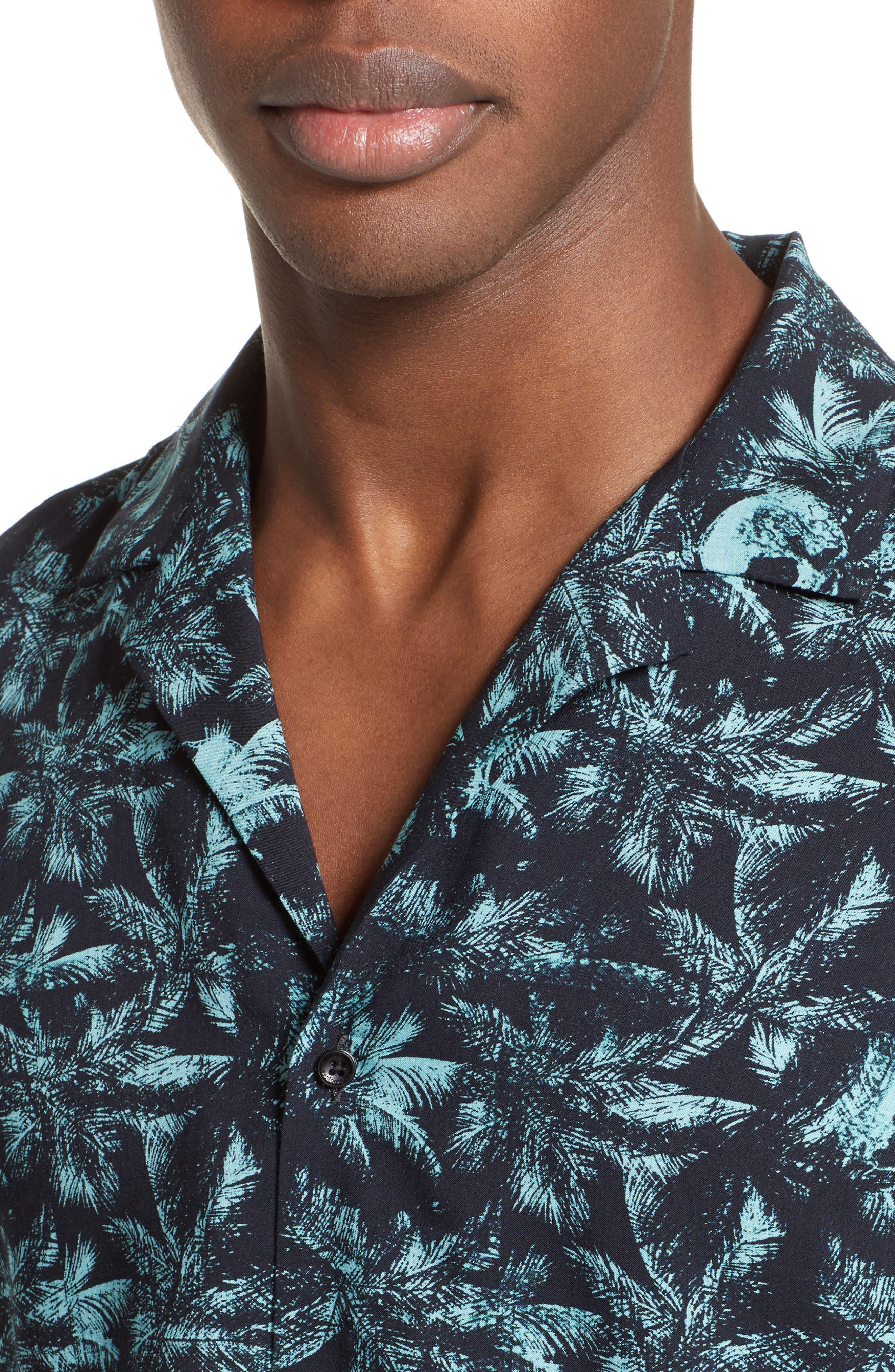 Hawaiian Collar Print Shirt,                             Alternate thumbnail 5, color,                             400