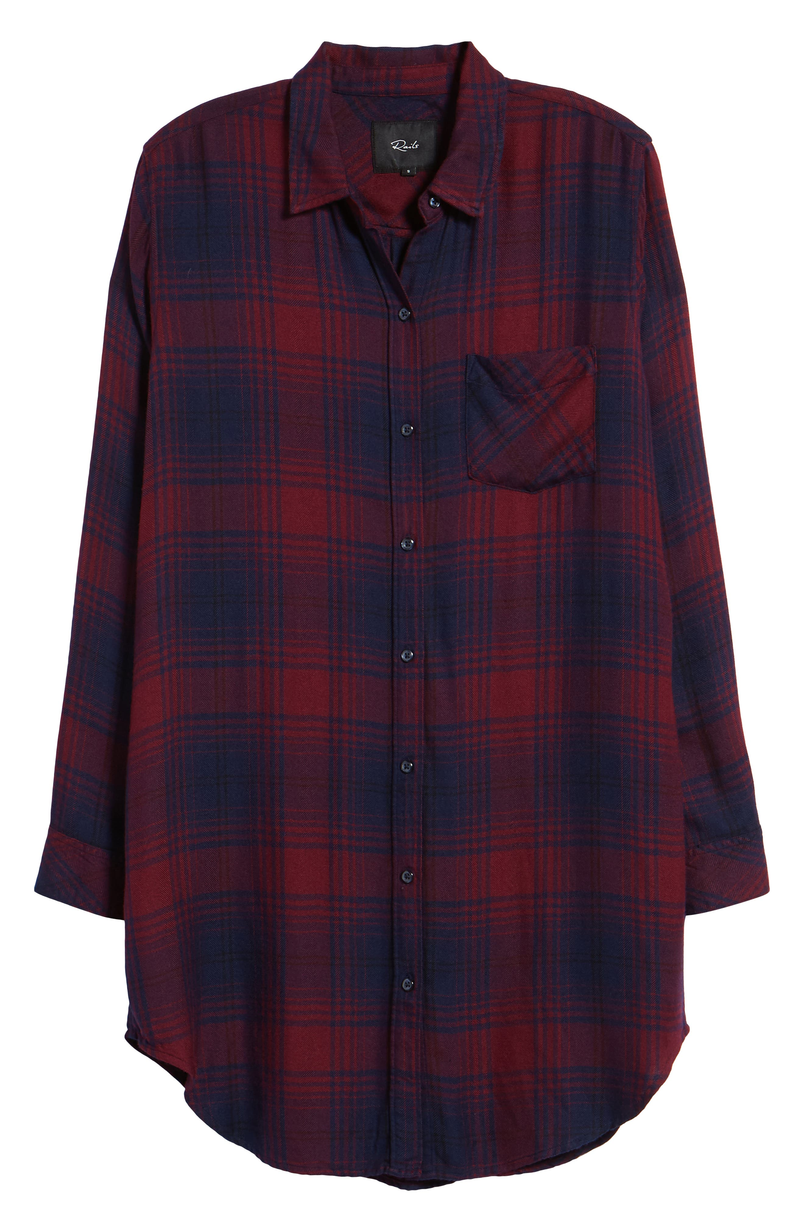 Bianca Flannel Shirtdress,                             Alternate thumbnail 8, color,                             CURRANT NAVY
