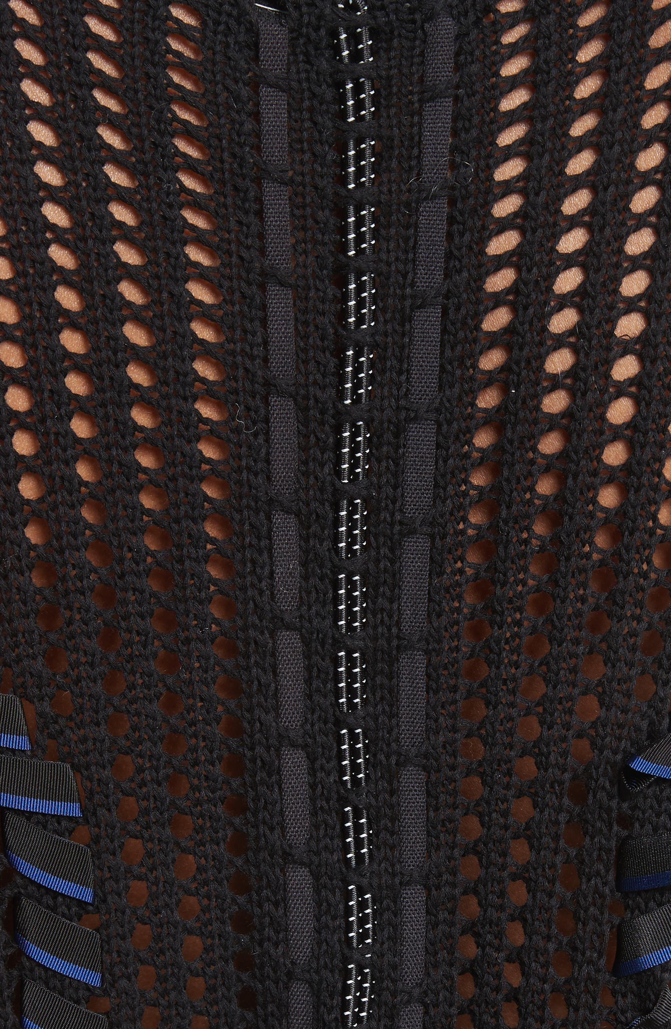 Lucie Pointelle Knit Cotton Blend Sweater,                             Alternate thumbnail 5, color,                             001