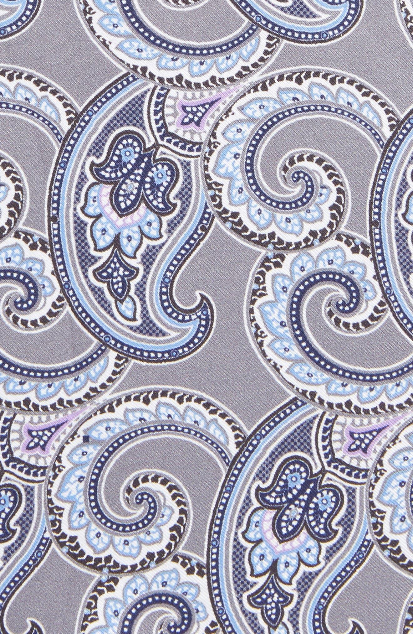 Four Panel Silk Pocket Square,                             Alternate thumbnail 3, color,                             GRAY