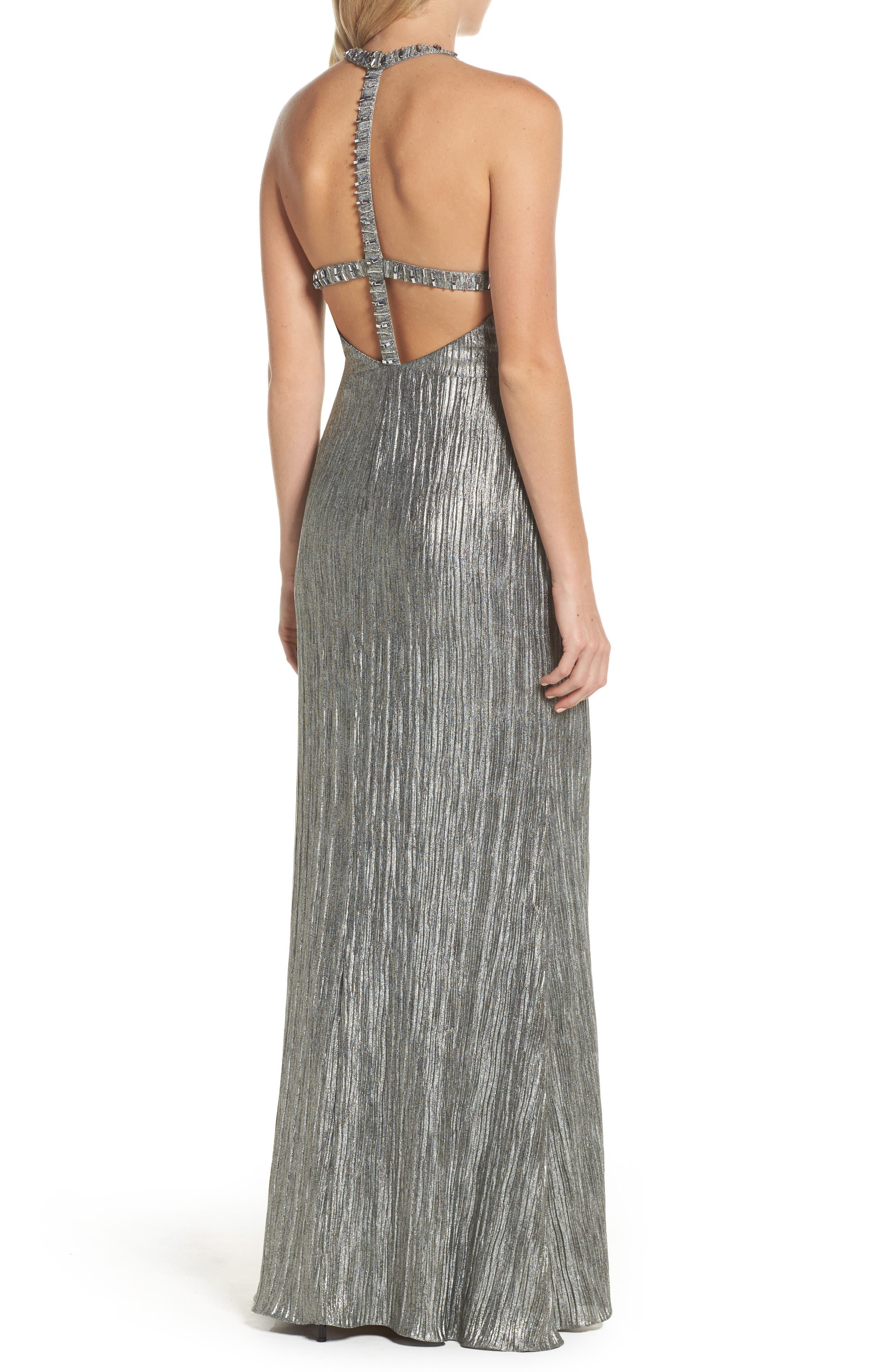Embellished Crinkle Jersey Halter Gown,                             Alternate thumbnail 2, color,