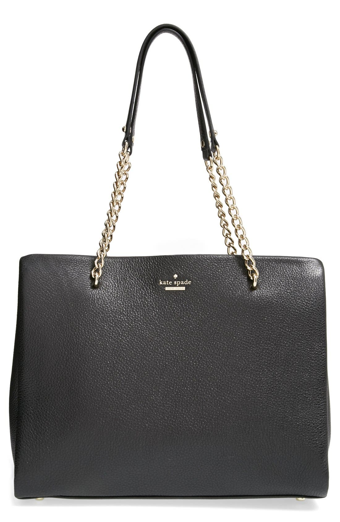 KATE SPADE NEW YORK,                             'emerson place - smooth phoebe' leather shoulder bag,                             Main thumbnail 1, color,                             001