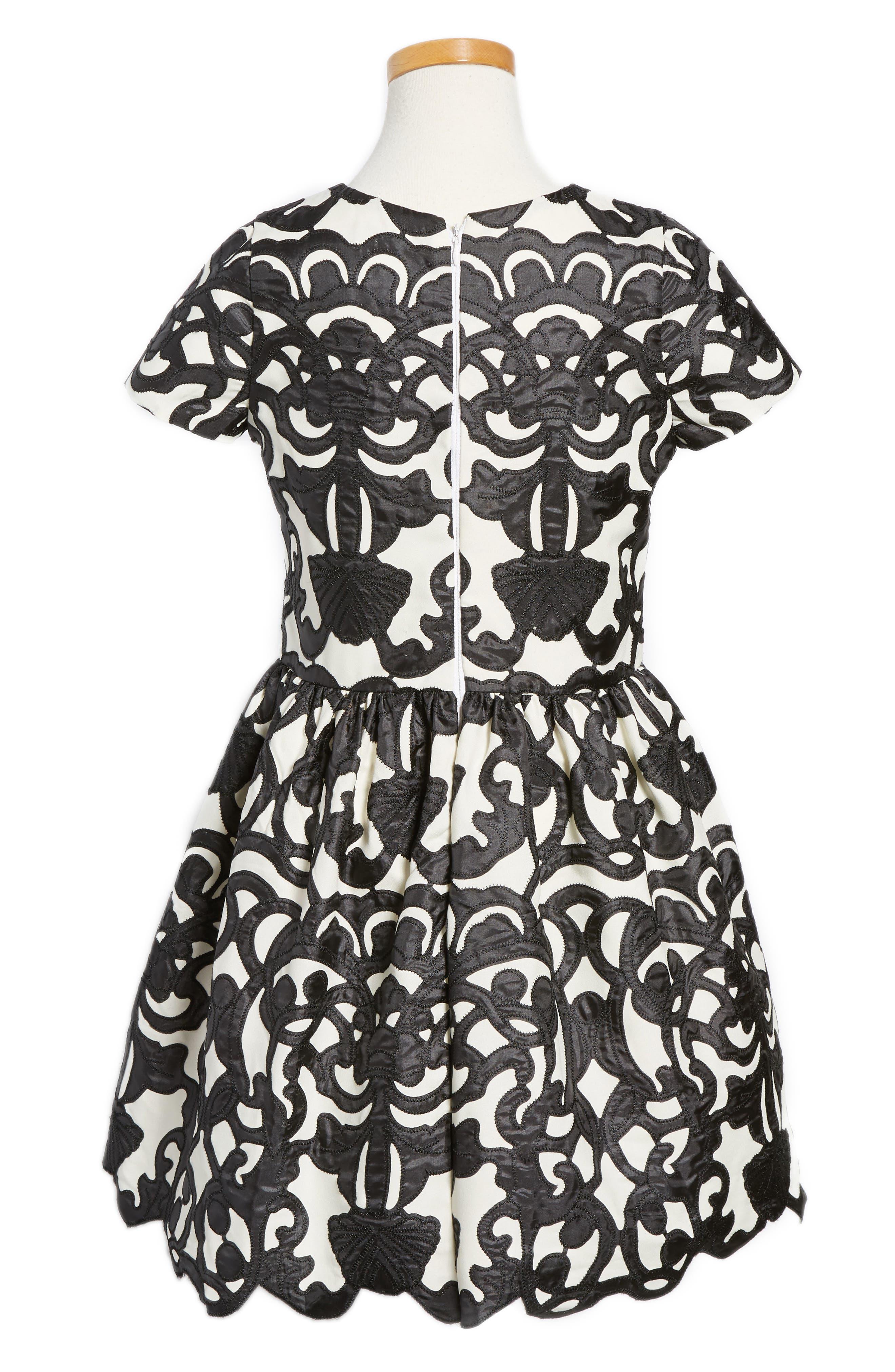 Laser Cut Appliqué Dress,                             Main thumbnail 1, color,                             001