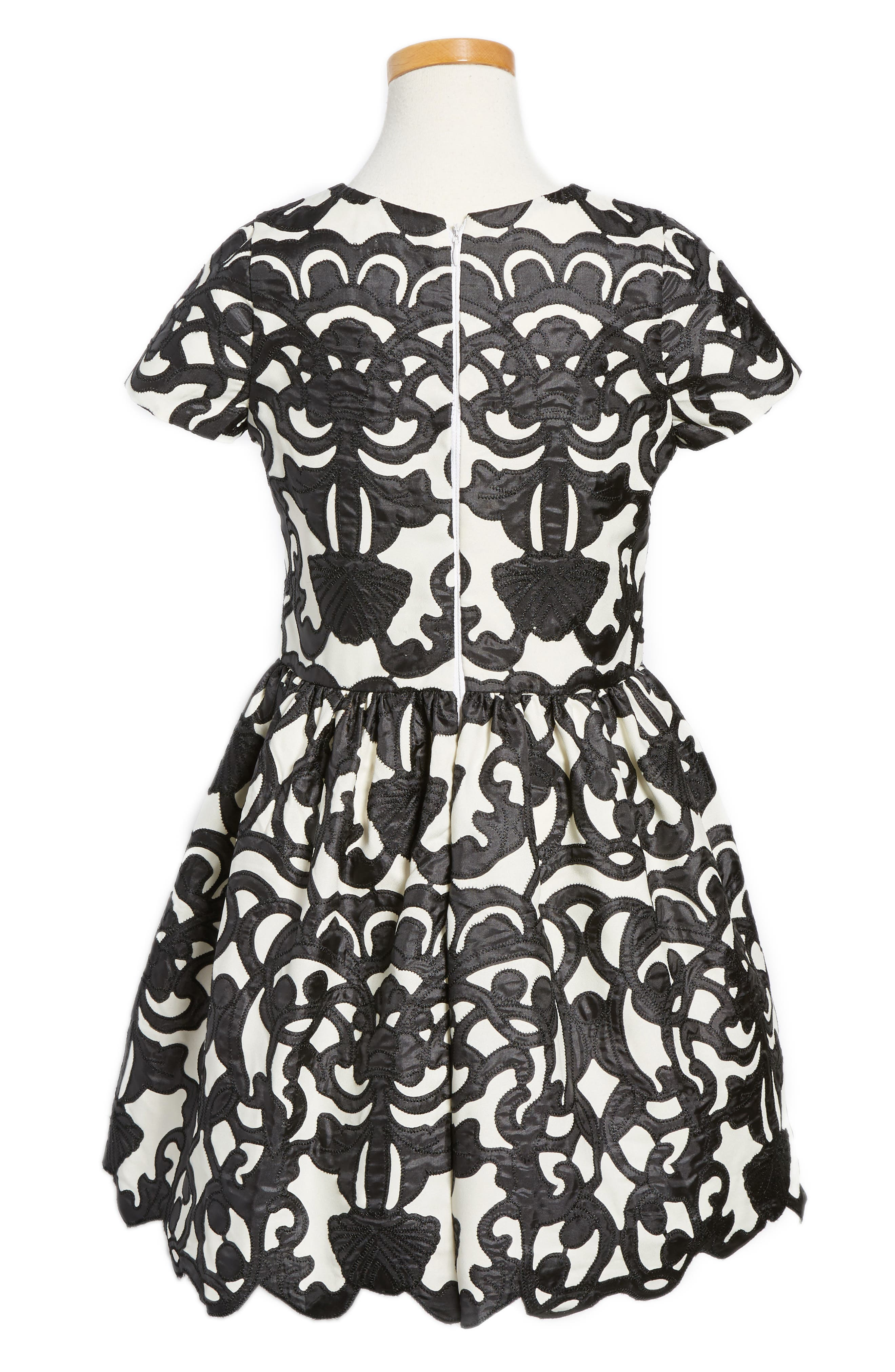 Laser Cut Appliqué Dress,                         Main,                         color, 001