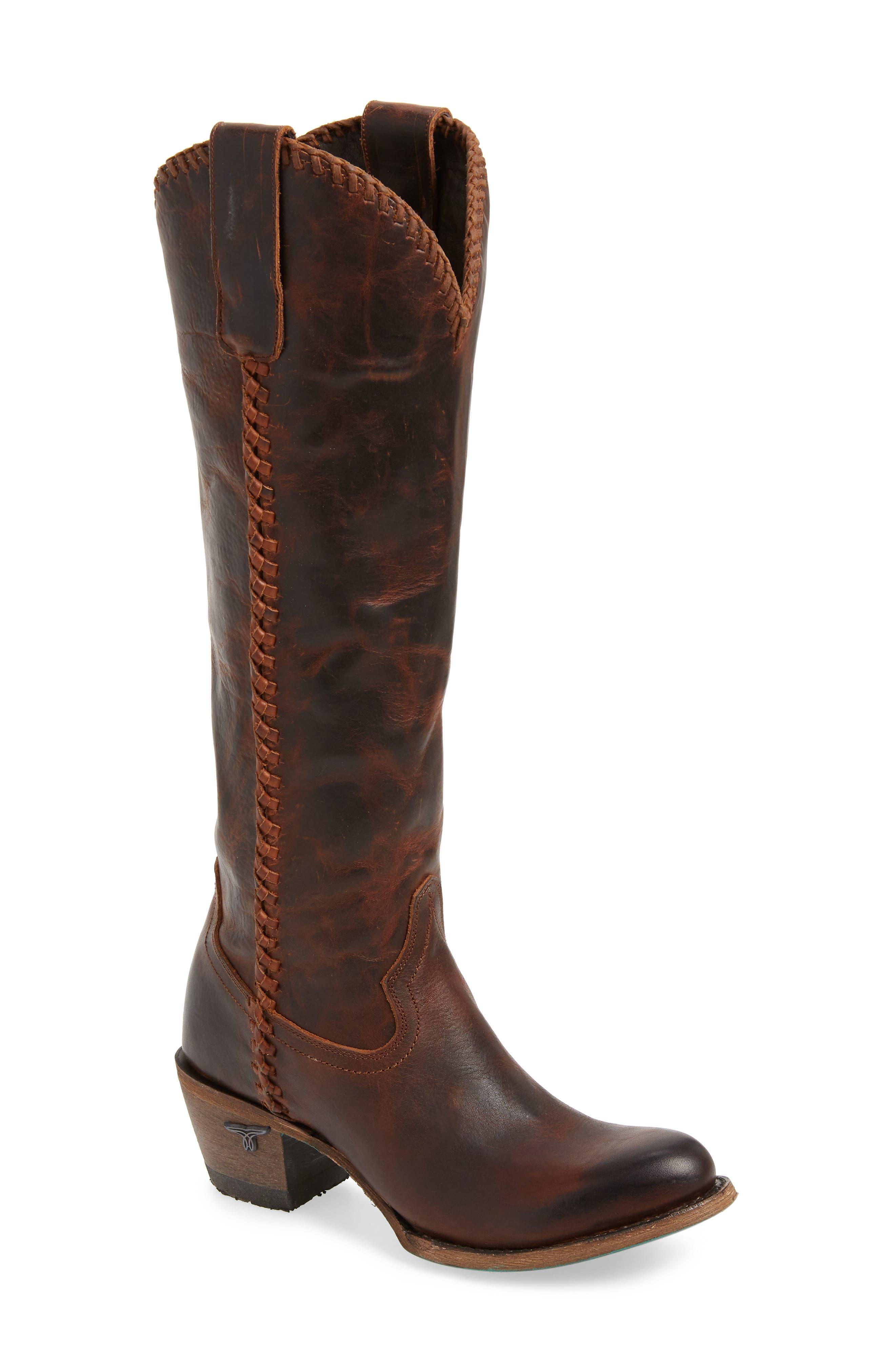LANE BOOTS Plain Jane Knee High Western Boot, Main, color, COGNAC LEATHER
