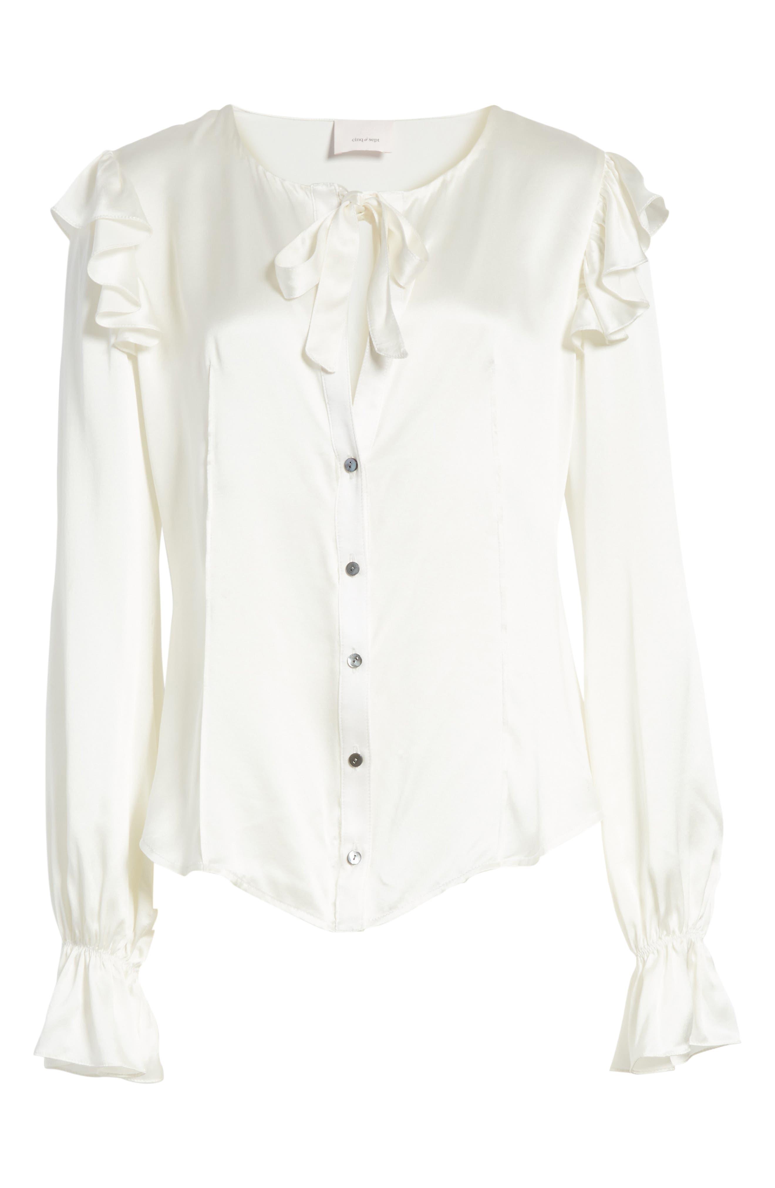 Cassanova Tie Neck Silk Blouse,                             Alternate thumbnail 6, color,                             112