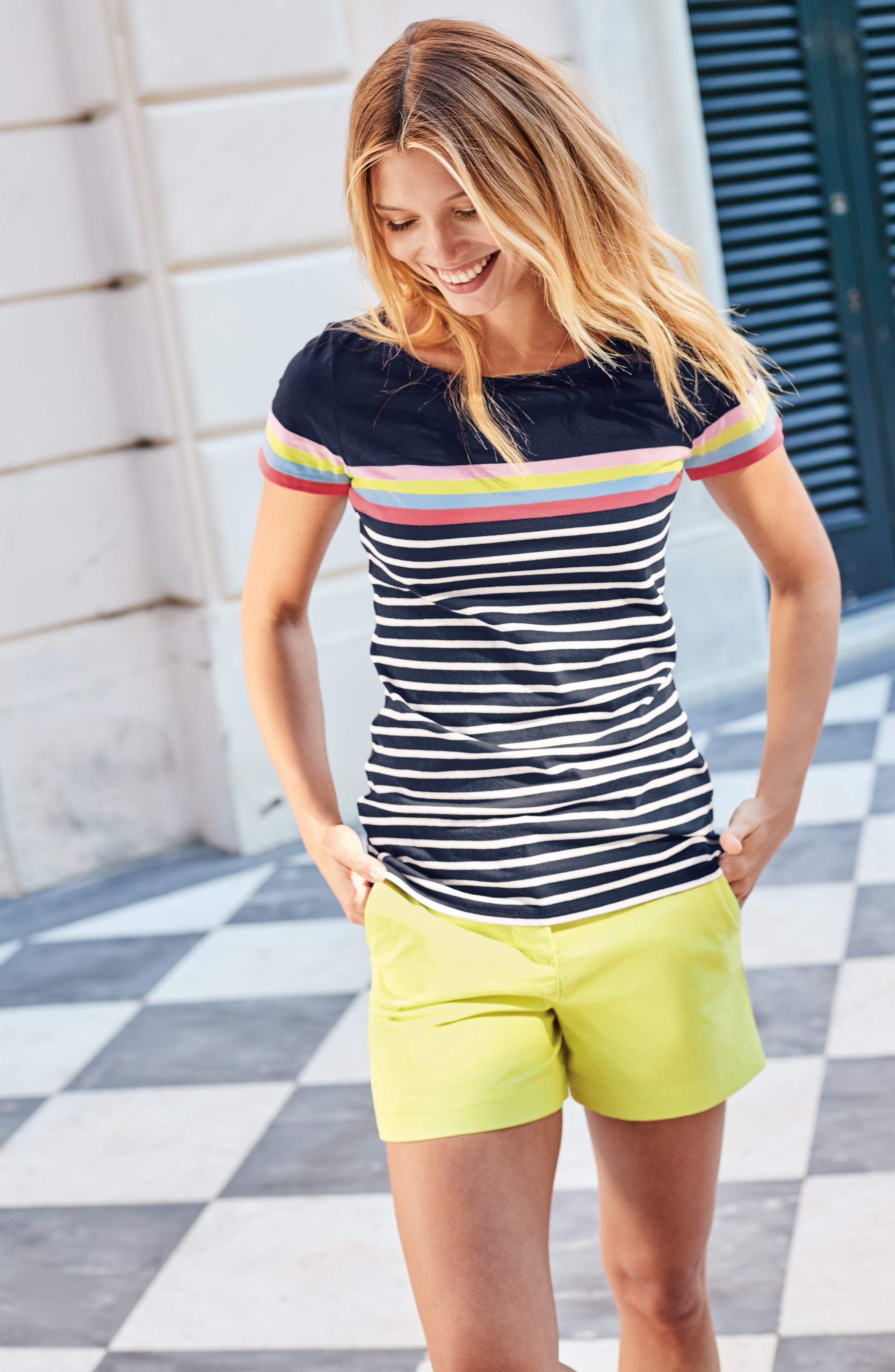 Breton Short Sleeve Stripe Cotton Top,                             Alternate thumbnail 32, color,