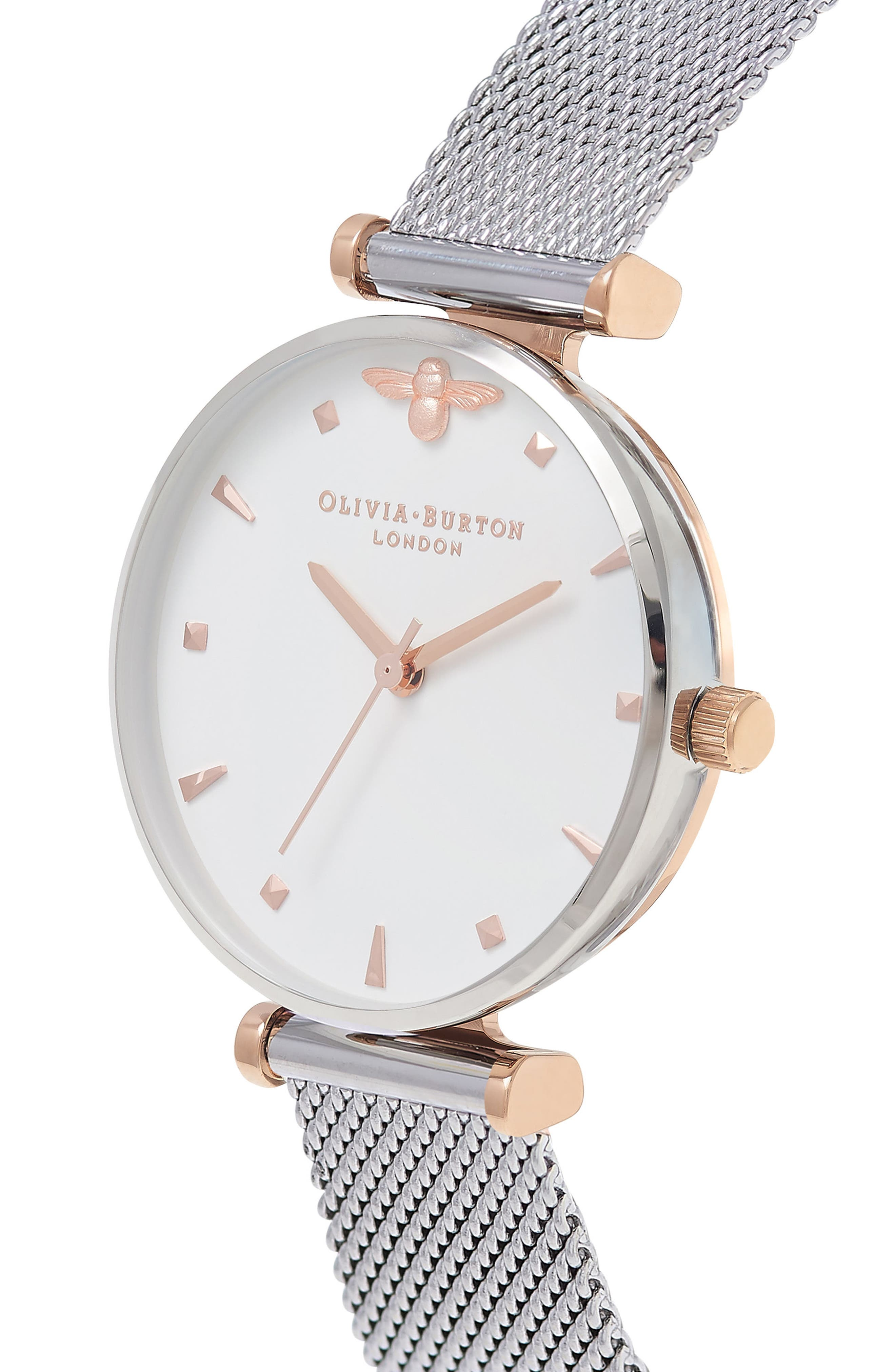 Queen Bee Mesh Strap Watch, 30mm,                             Alternate thumbnail 6, color,                             SILVER/ WHITE/ SILVER