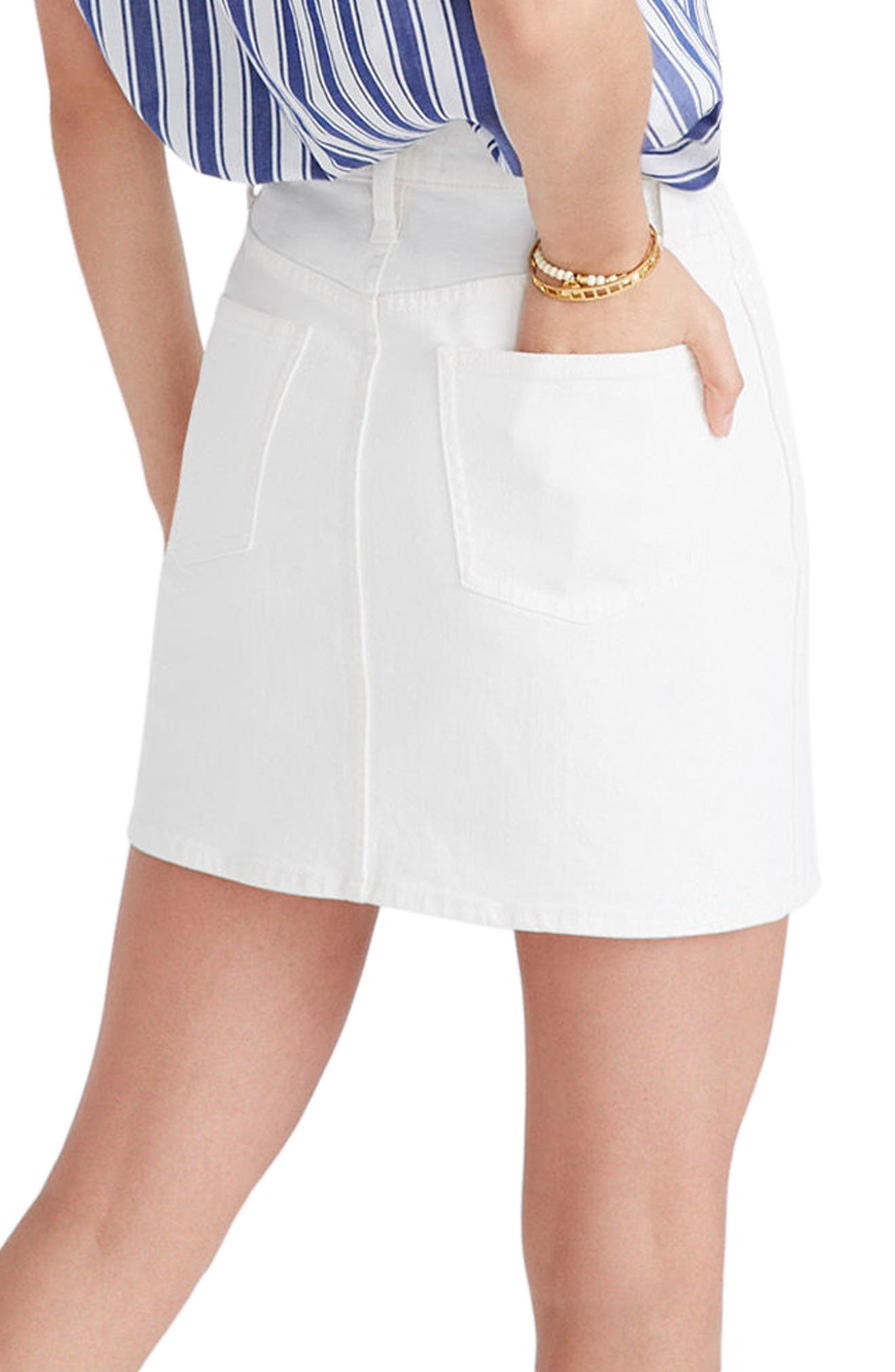 Button Front Straight Denim Skirt,                             Alternate thumbnail 2, color,