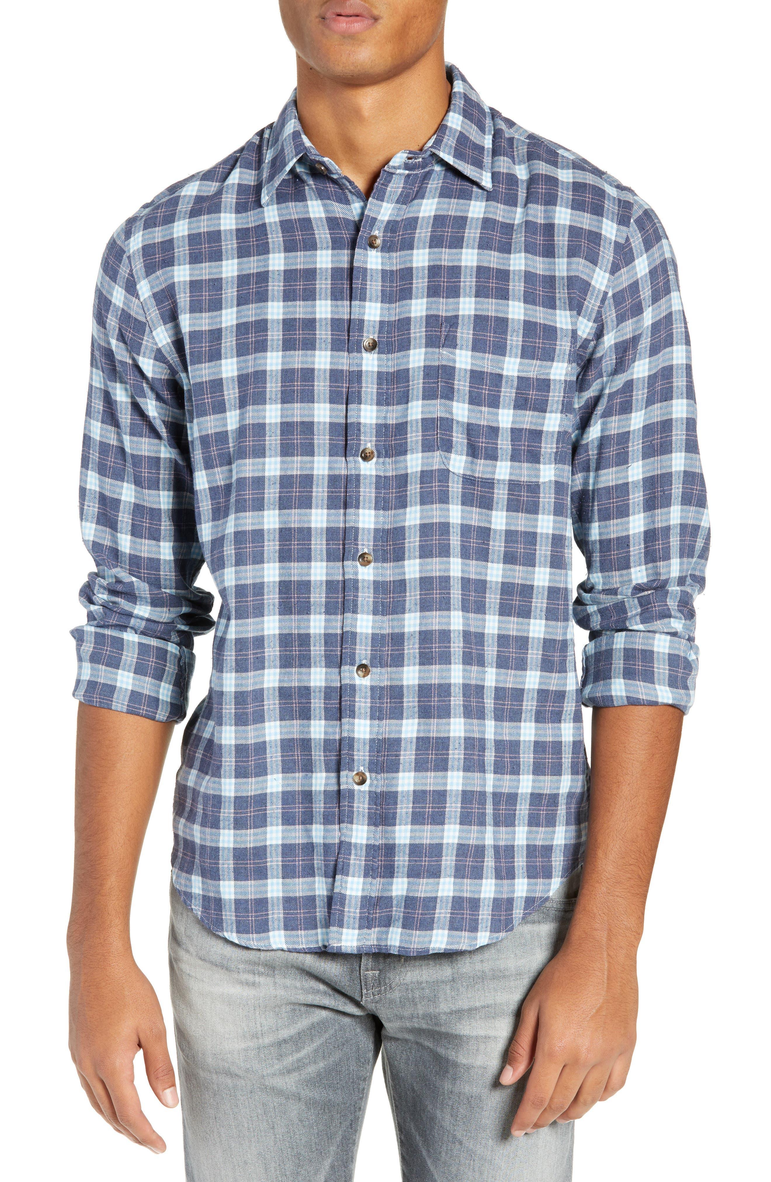 Brushed Alpine Regular Fit Flannel Shirt,                         Main,                         color, INDIGO BLUE CORAL