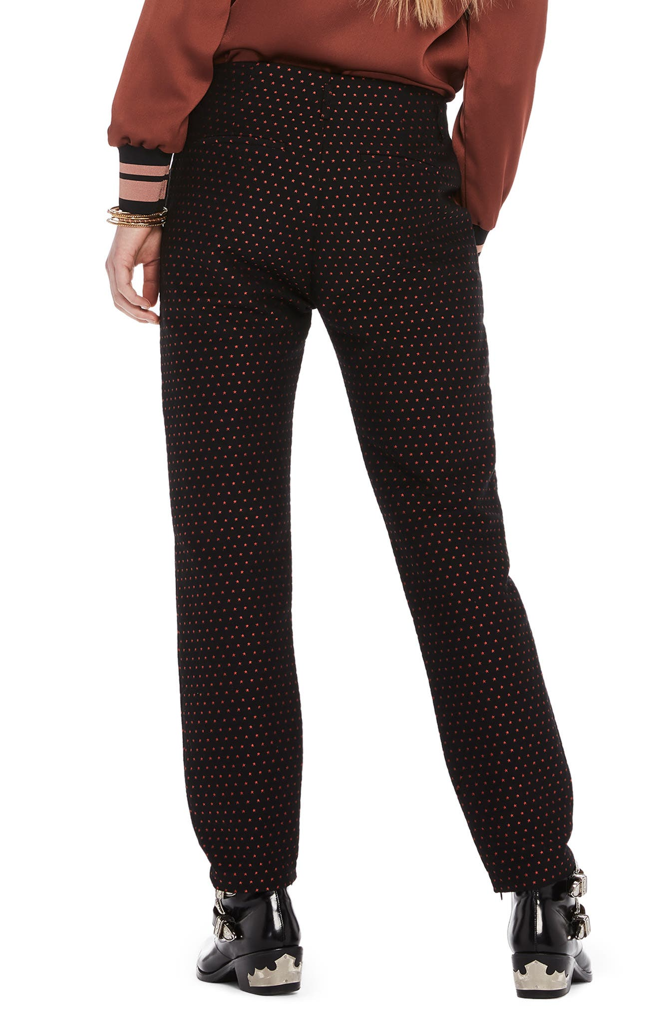 Starry Jacquard Tailored Stretch Pants,                             Alternate thumbnail 2, color,                             BLACK W/ SMALL STAR PRINT