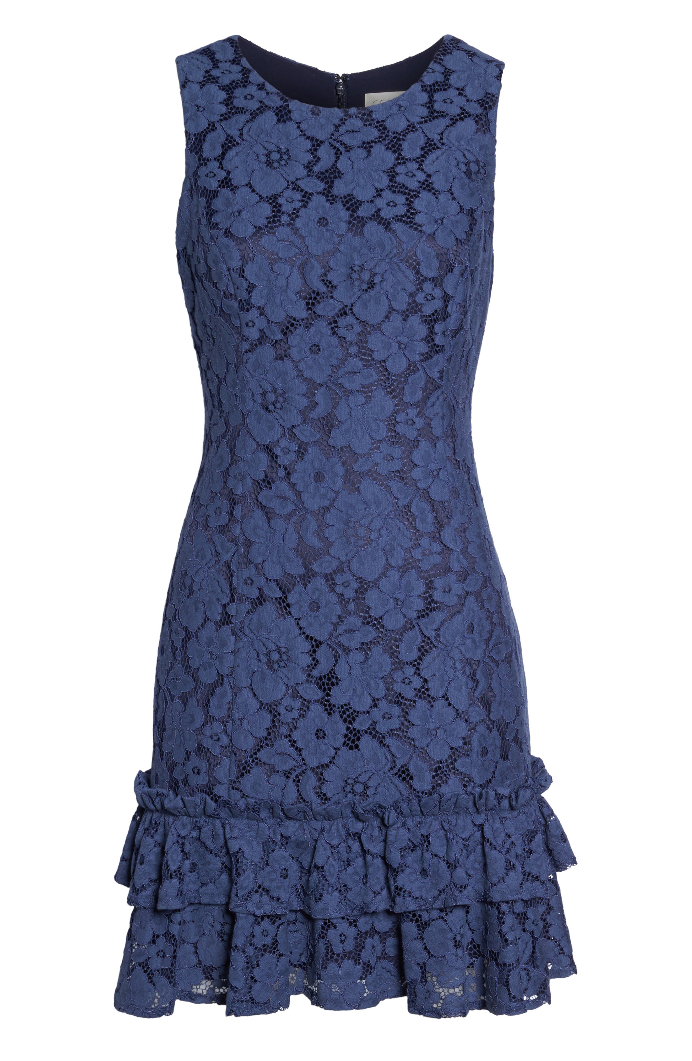 Ruffle Lace Sheath Dress,                             Alternate thumbnail 6, color,                             410