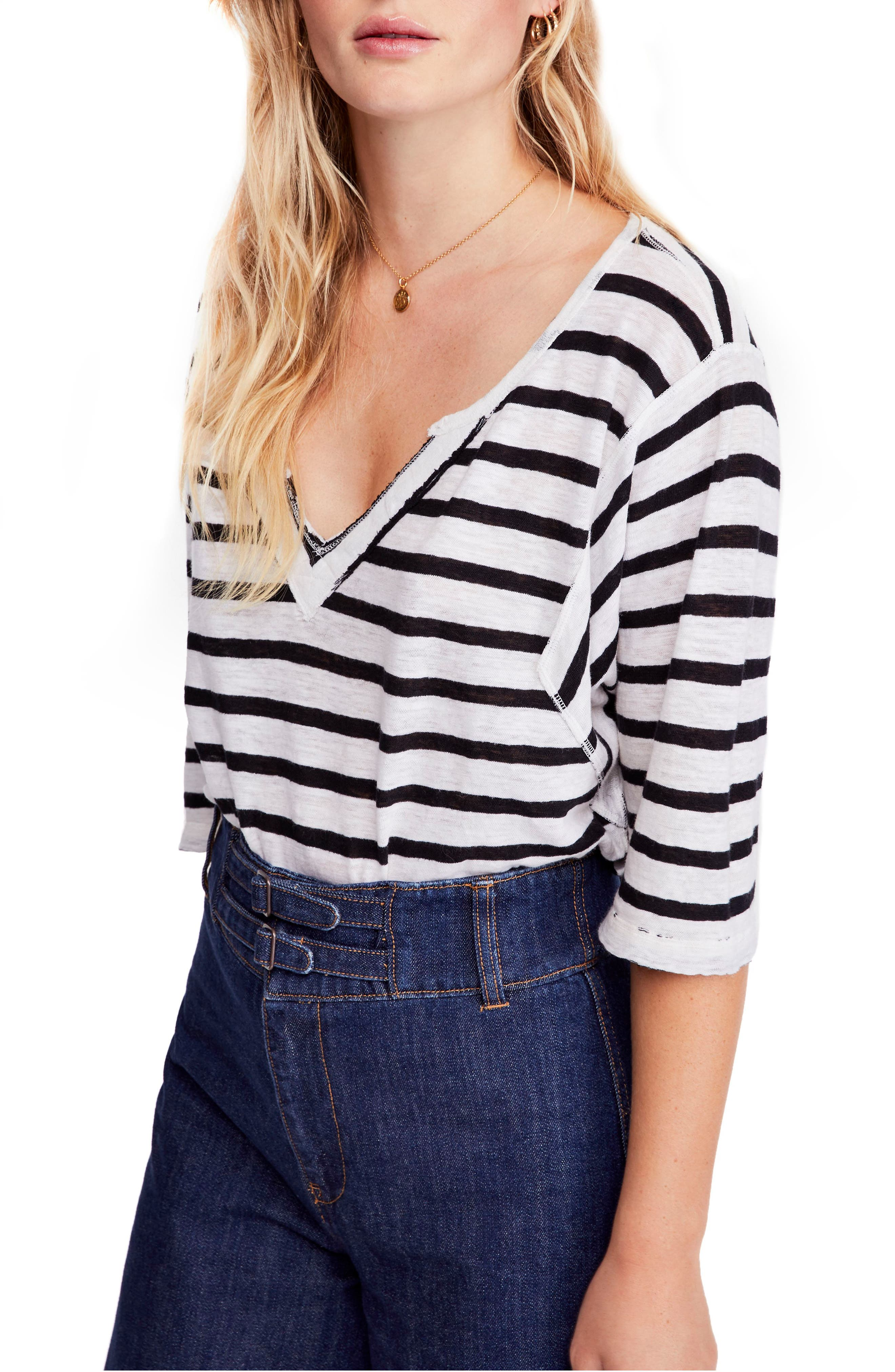Head in the Clouds Stripe Tee, Main, color, IVORY