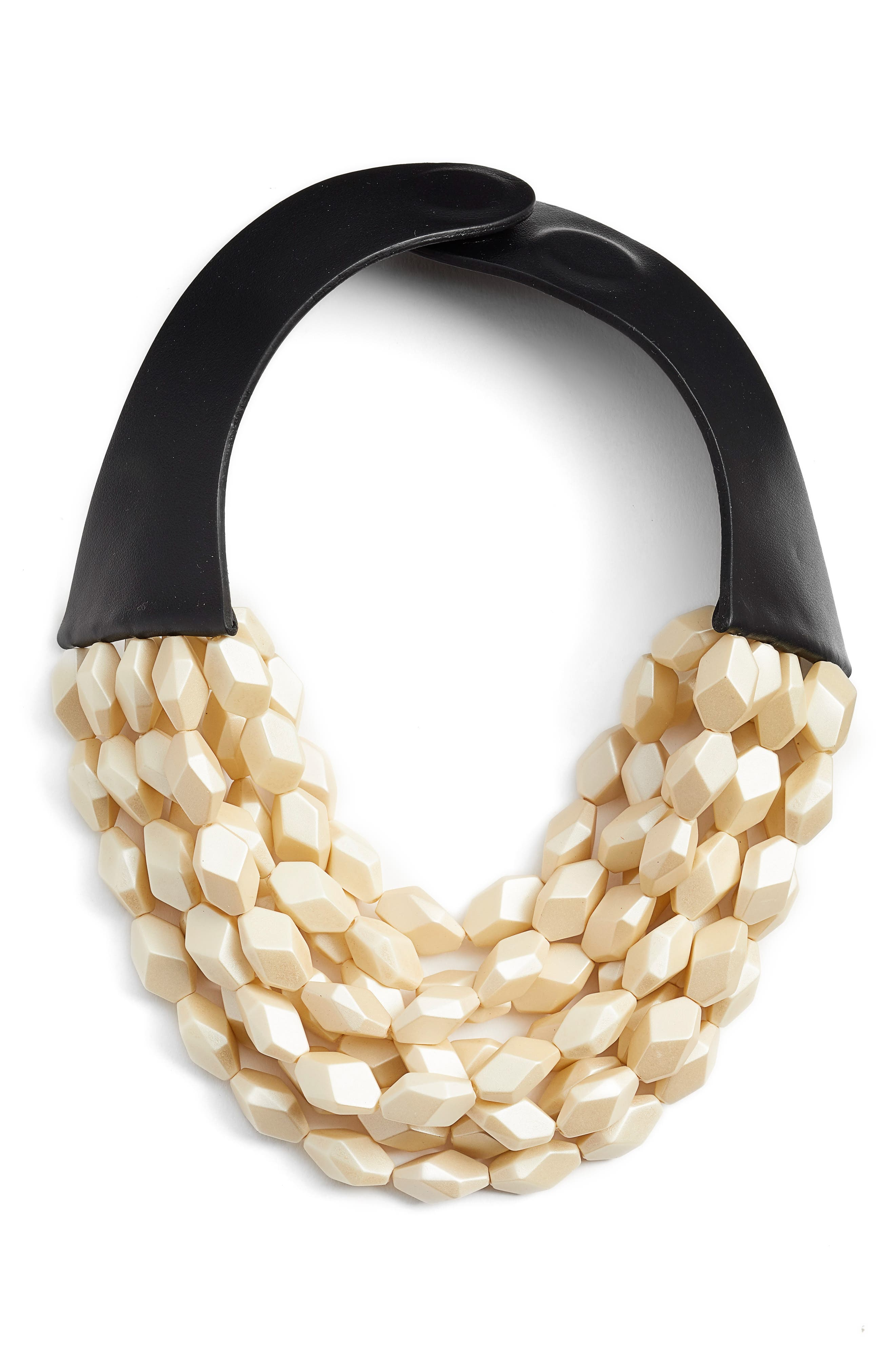 Oval Bella Beaded Collar Necklace,                         Main,                         color, PEARLIZED