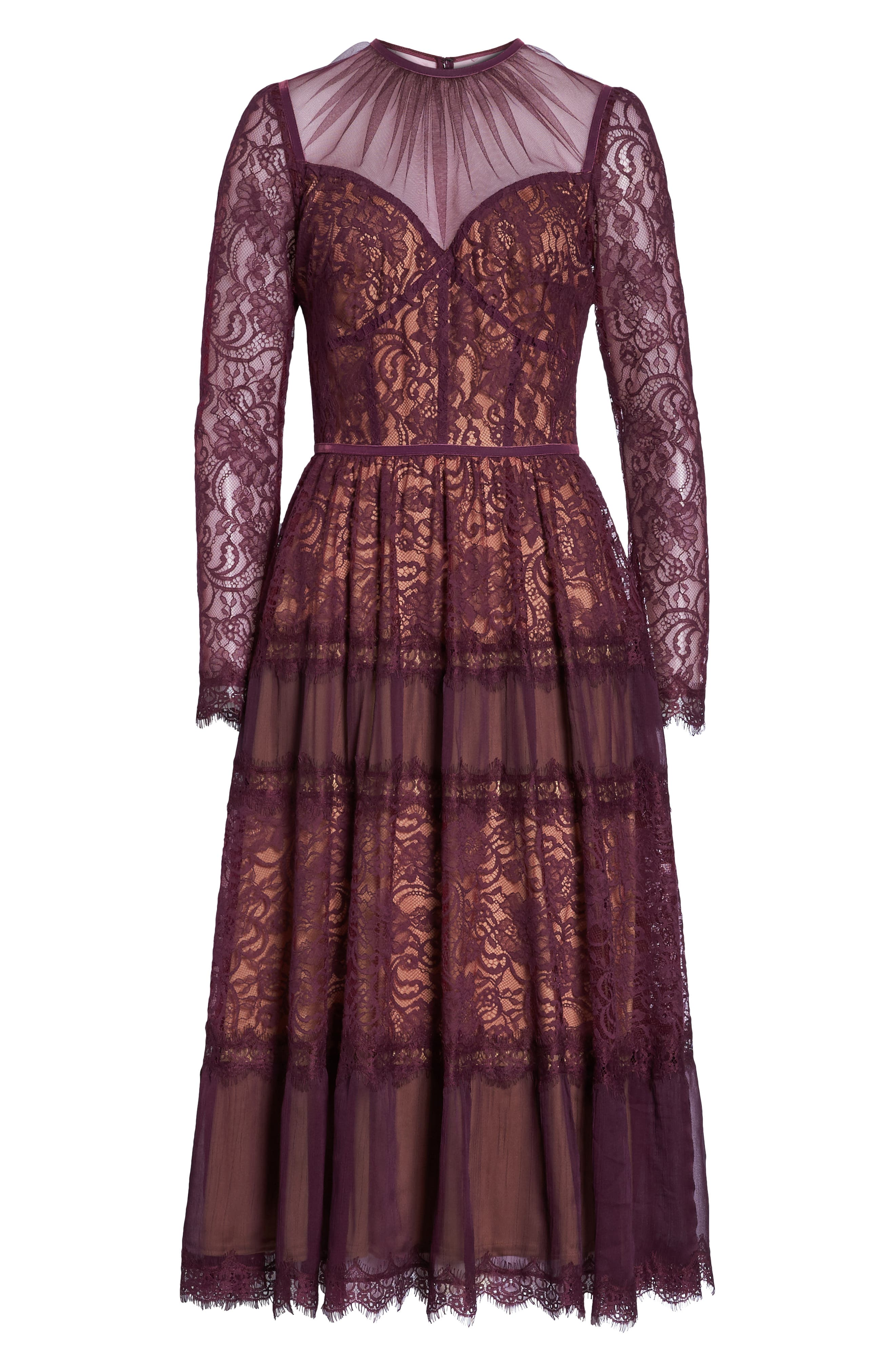 Embroidered Lace Dress,                             Alternate thumbnail 7, color,                             DEWBERRY/ NUDE