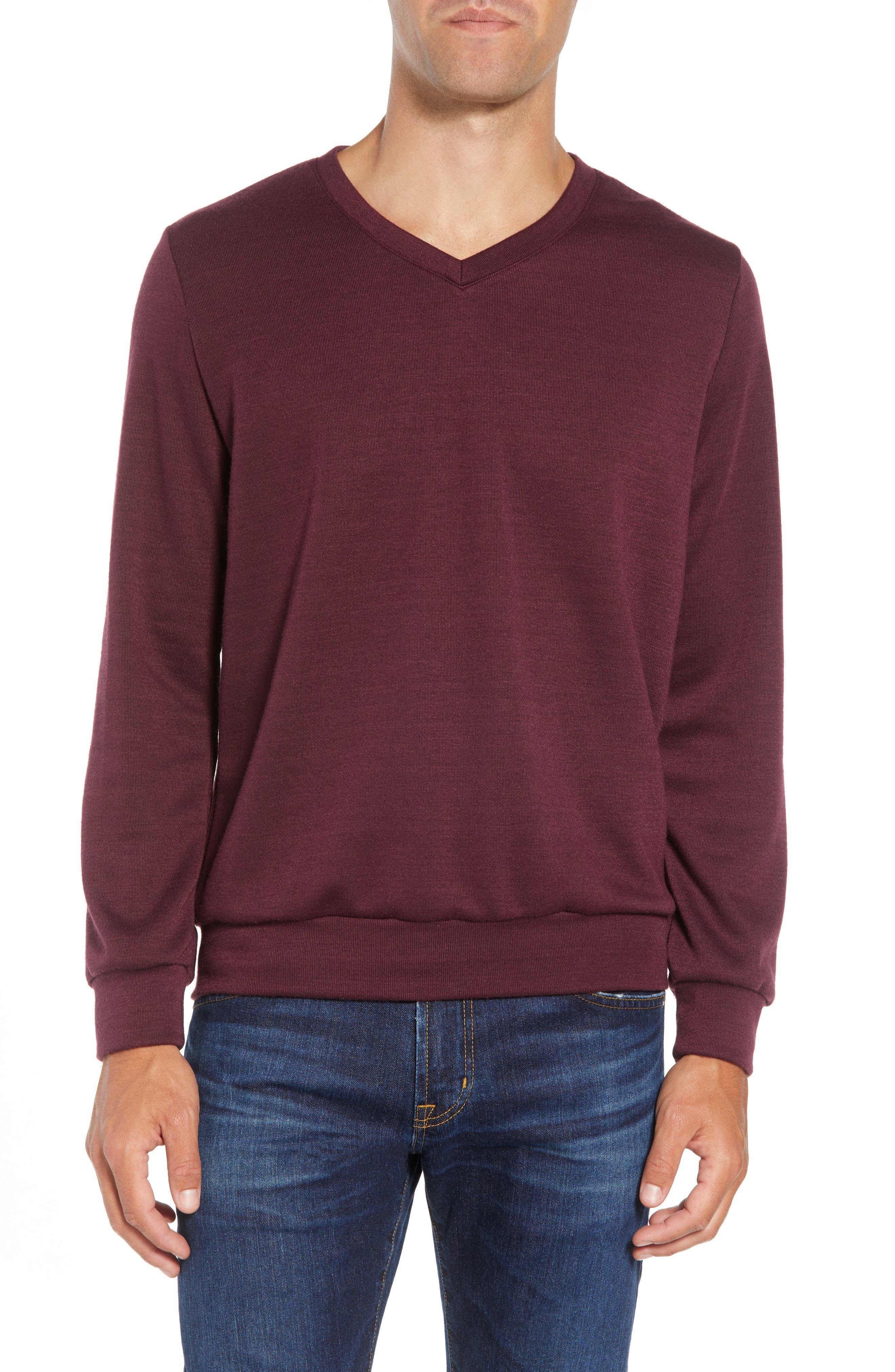 Pomerelle V-Neck Performance Sweater,                             Main thumbnail 1, color,                             MERLOT