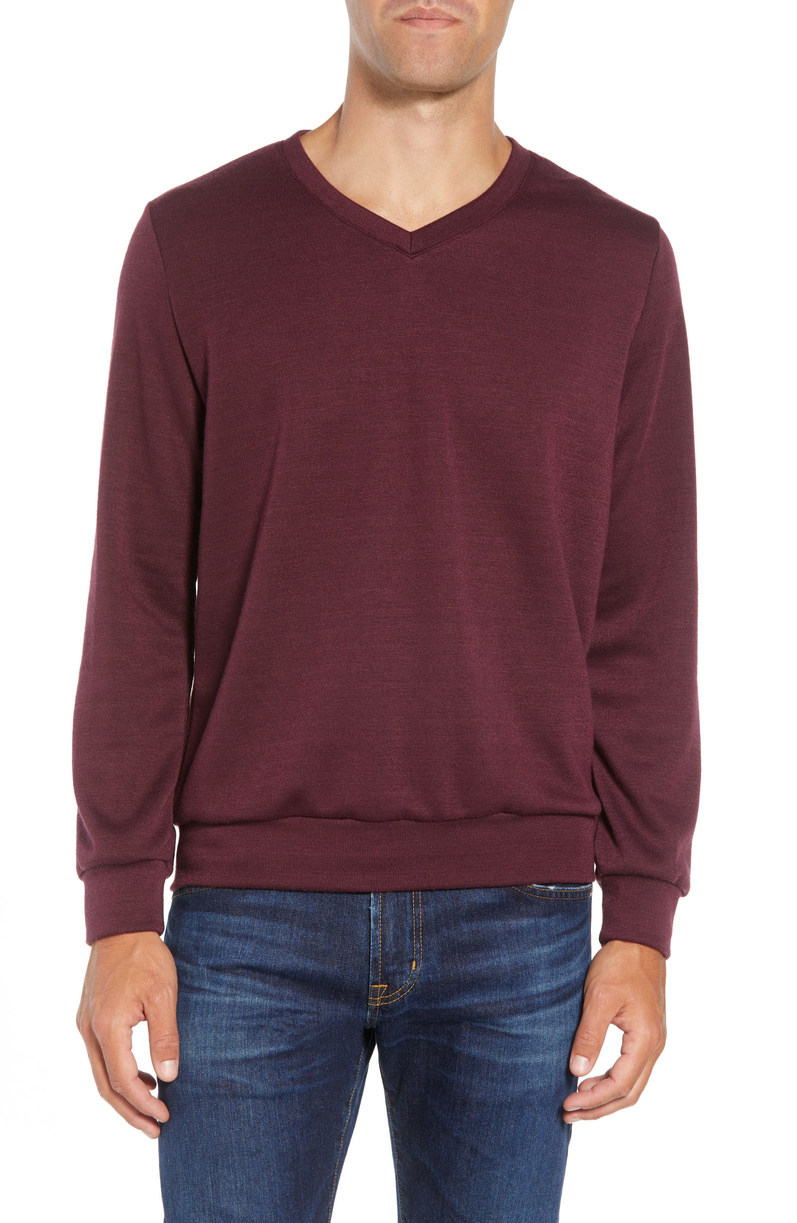 Pomerelle V-Neck Performance Sweater,                         Main,                         color, MERLOT