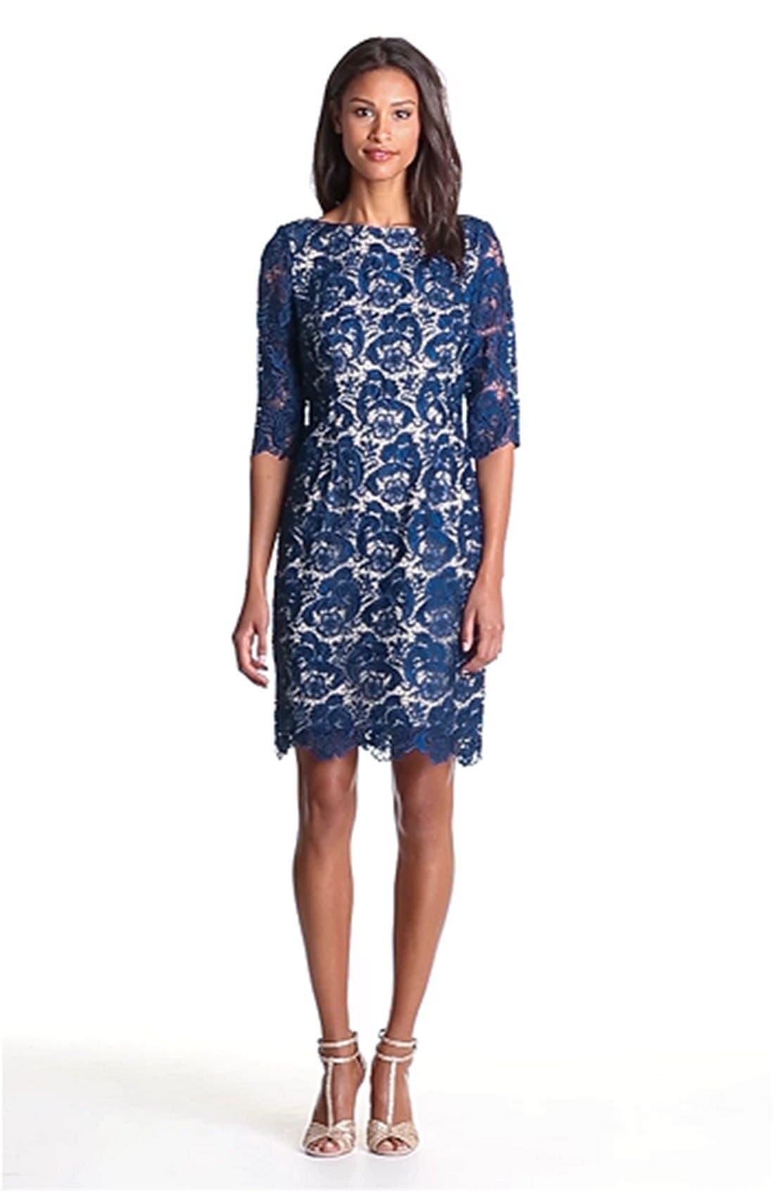 ELIZA J,                             Embroidered Lace Overlay Sheath Dress,                             Alternate thumbnail 3, color,                             410