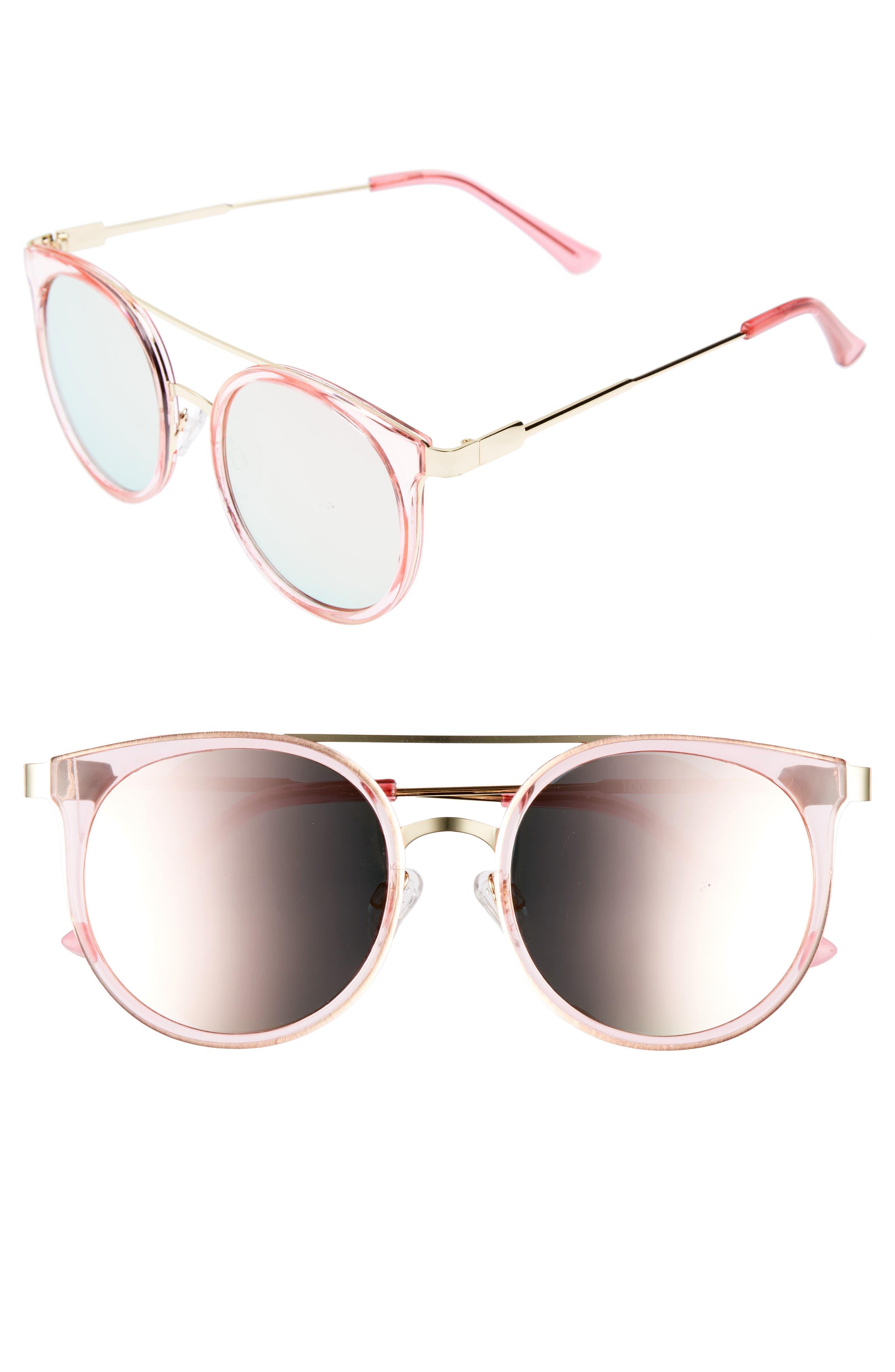 52mm Mirror Lens Round Sunglasses,                         Main,                         color, 710