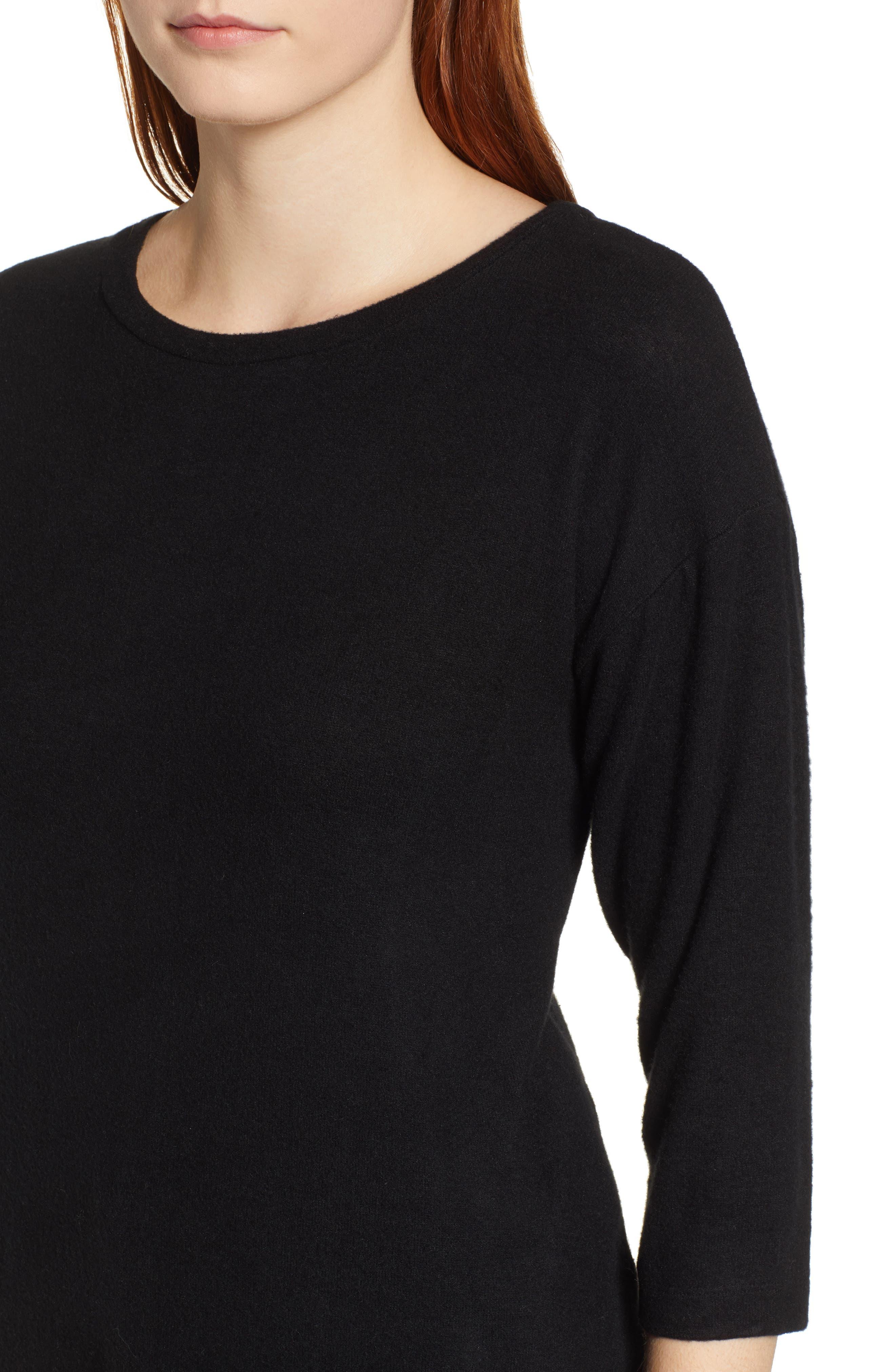 BOBEAU,                             Pleat Back Pullover,                             Alternate thumbnail 4, color,                             001