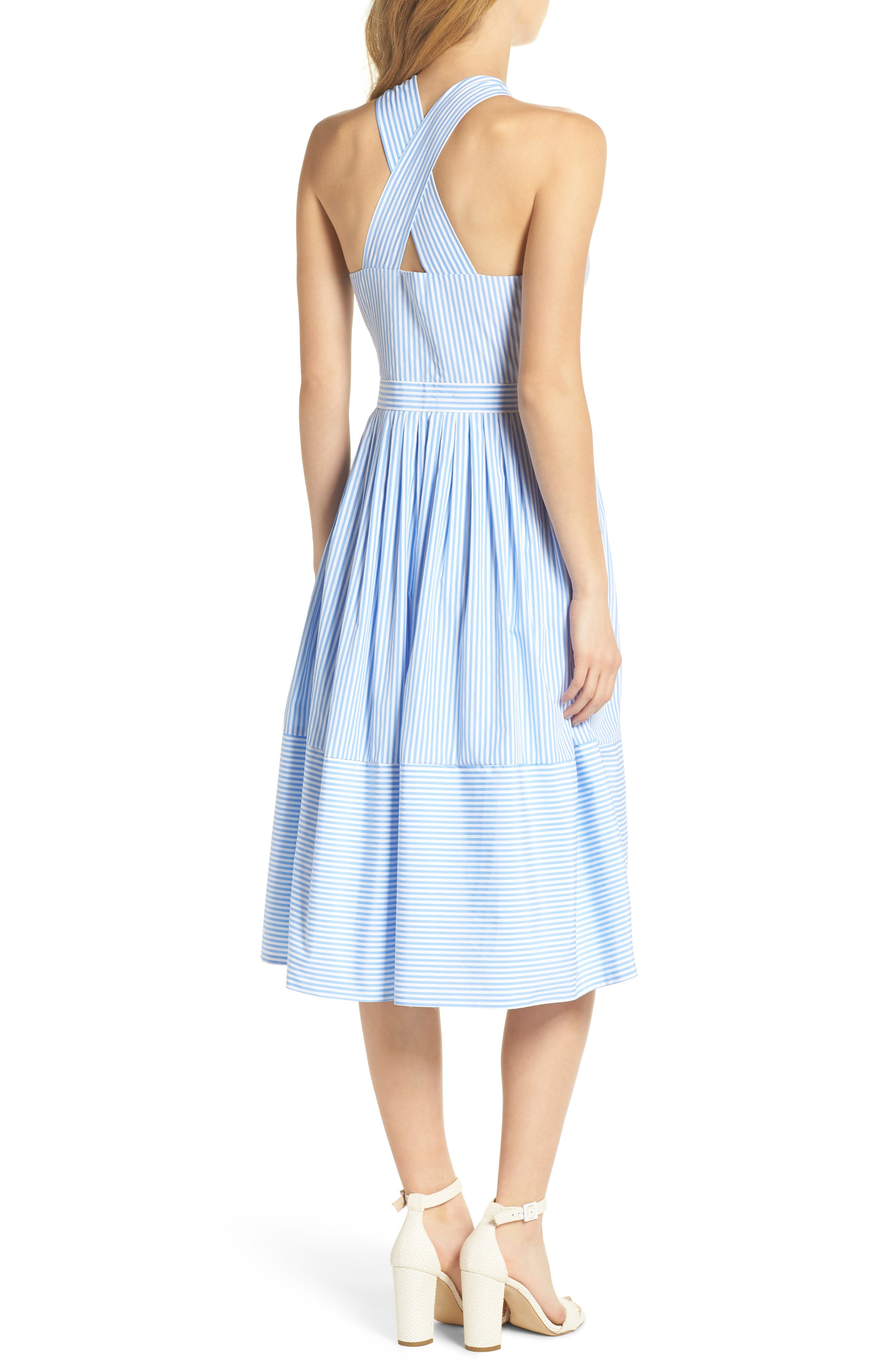 Claire Stripe Halter Dress,                             Alternate thumbnail 2, color,                             461