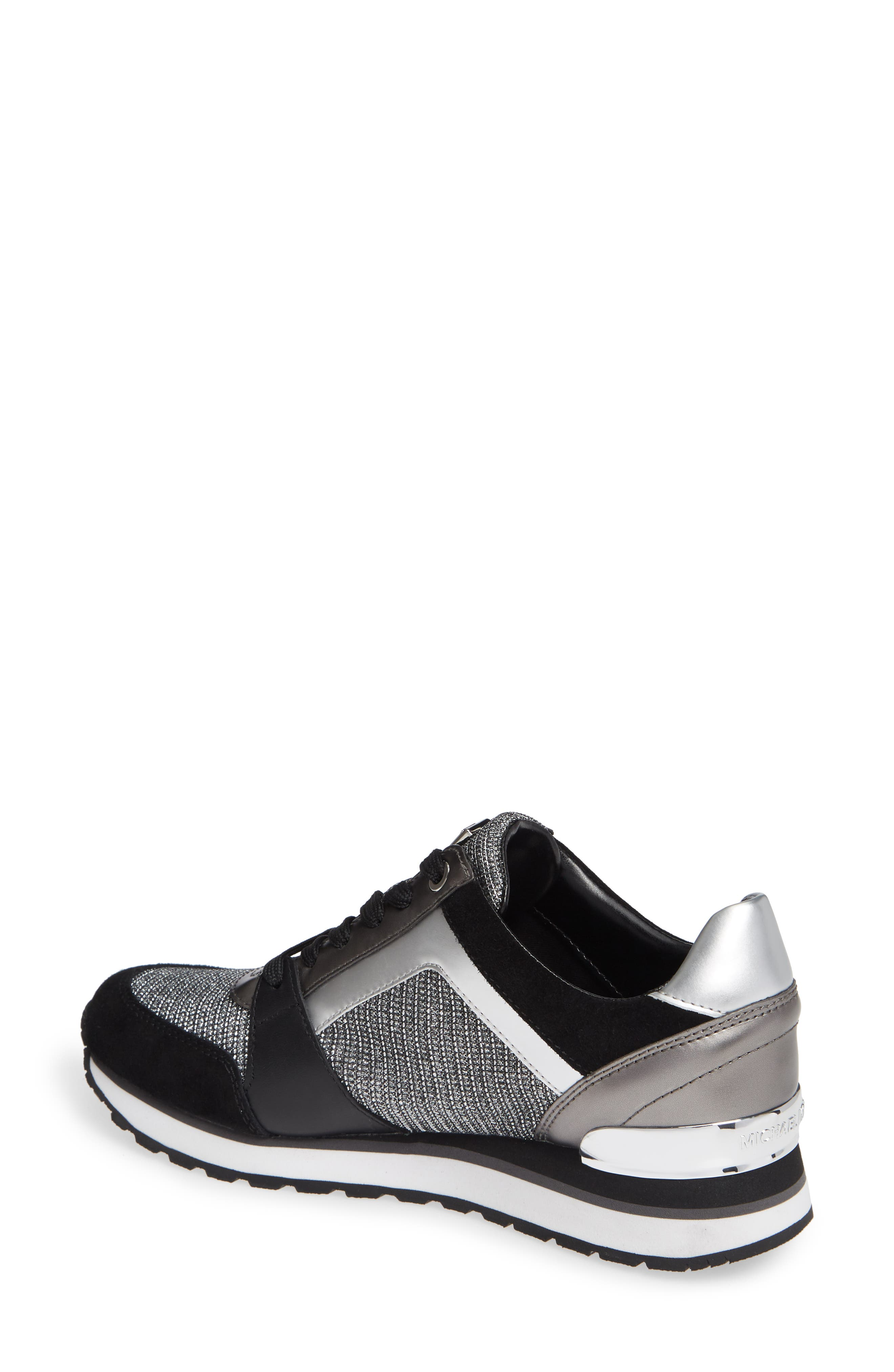 Billie Perforated Sneaker,                             Alternate thumbnail 2, color,                             BLACK/ SILVER