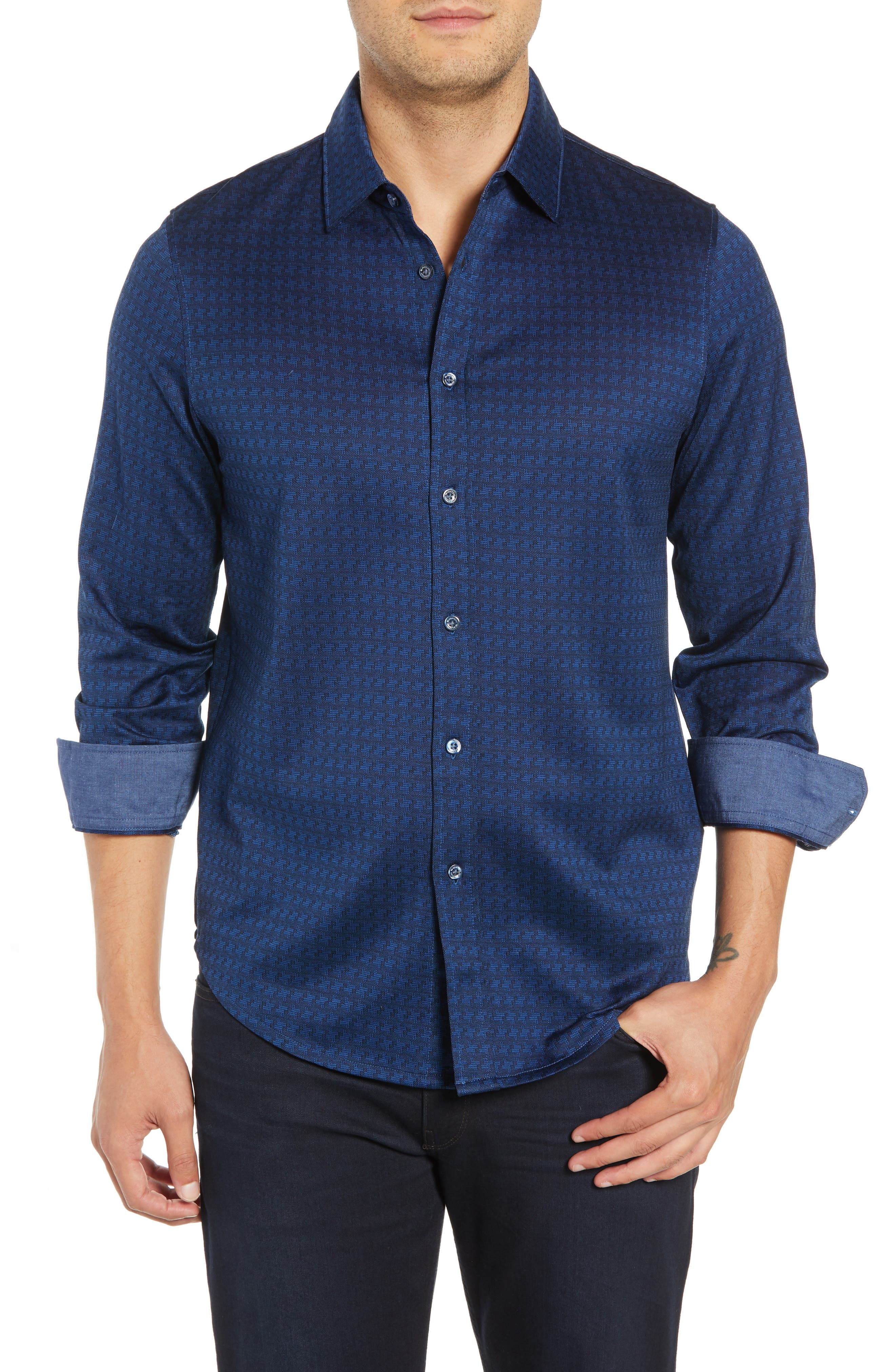 Shaped Fit Geo Knit Sport Shirt,                             Main thumbnail 1, color,                             MIDNIGHT