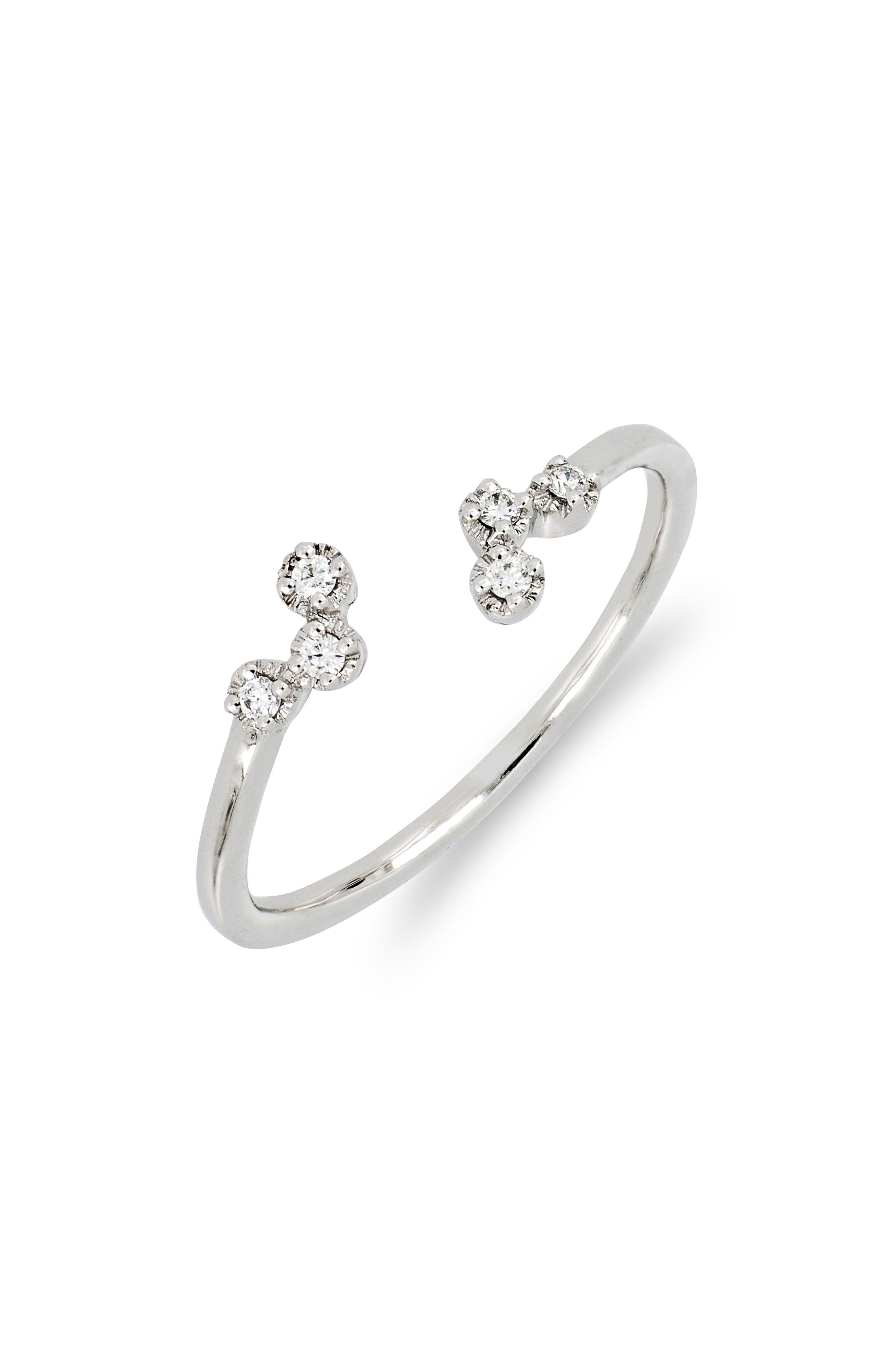 Mila Scattered Diamond Open Ring,                             Main thumbnail 1, color,                             WHITE GOLD